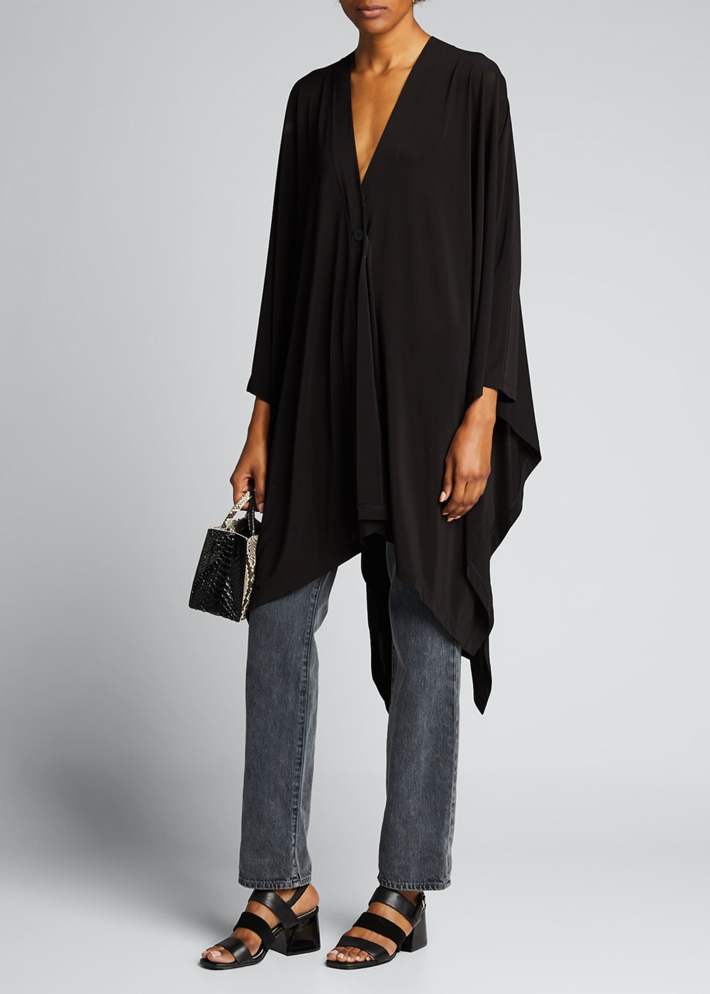 Image 1 of 5: Draped Jersey Handkerchief Cardigan