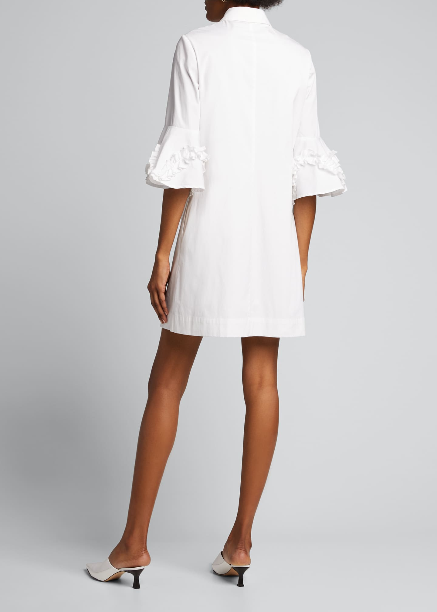 Image 2 of 5: Cotton Poplin Ruffle Sleeve Shirt Dress