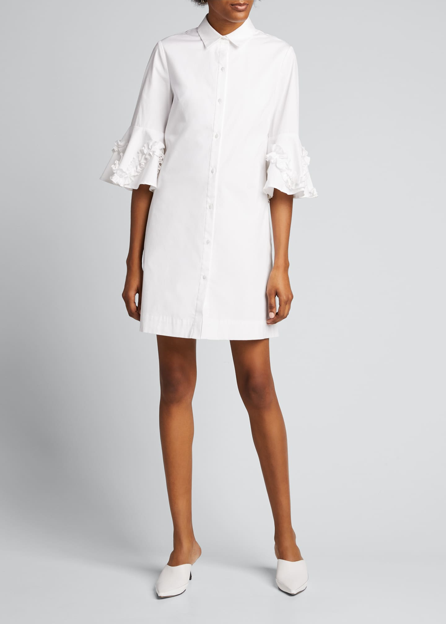 Image 3 of 5: Cotton Poplin Ruffle Sleeve Shirt Dress
