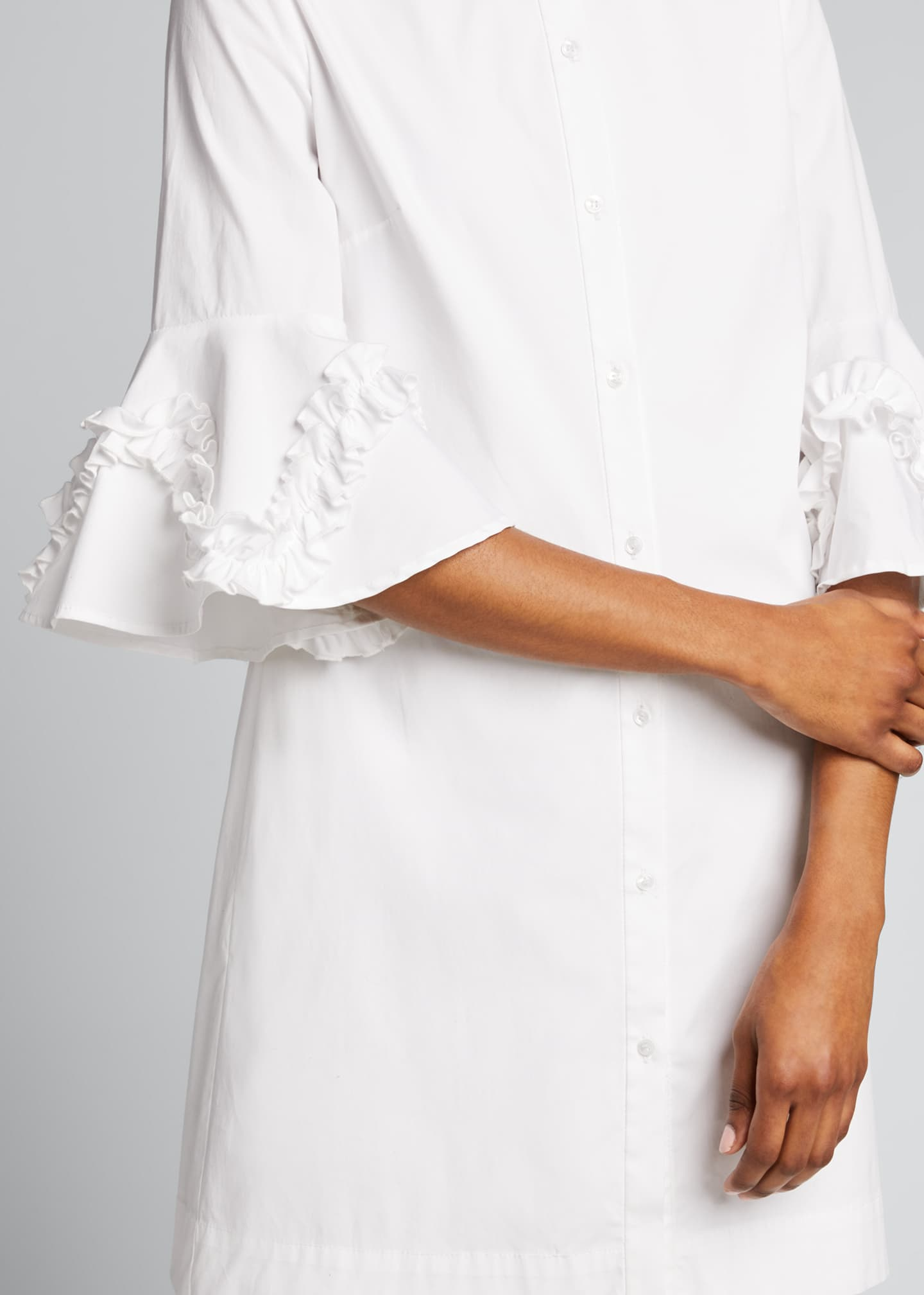 Image 4 of 5: Cotton Poplin Ruffle Sleeve Shirt Dress