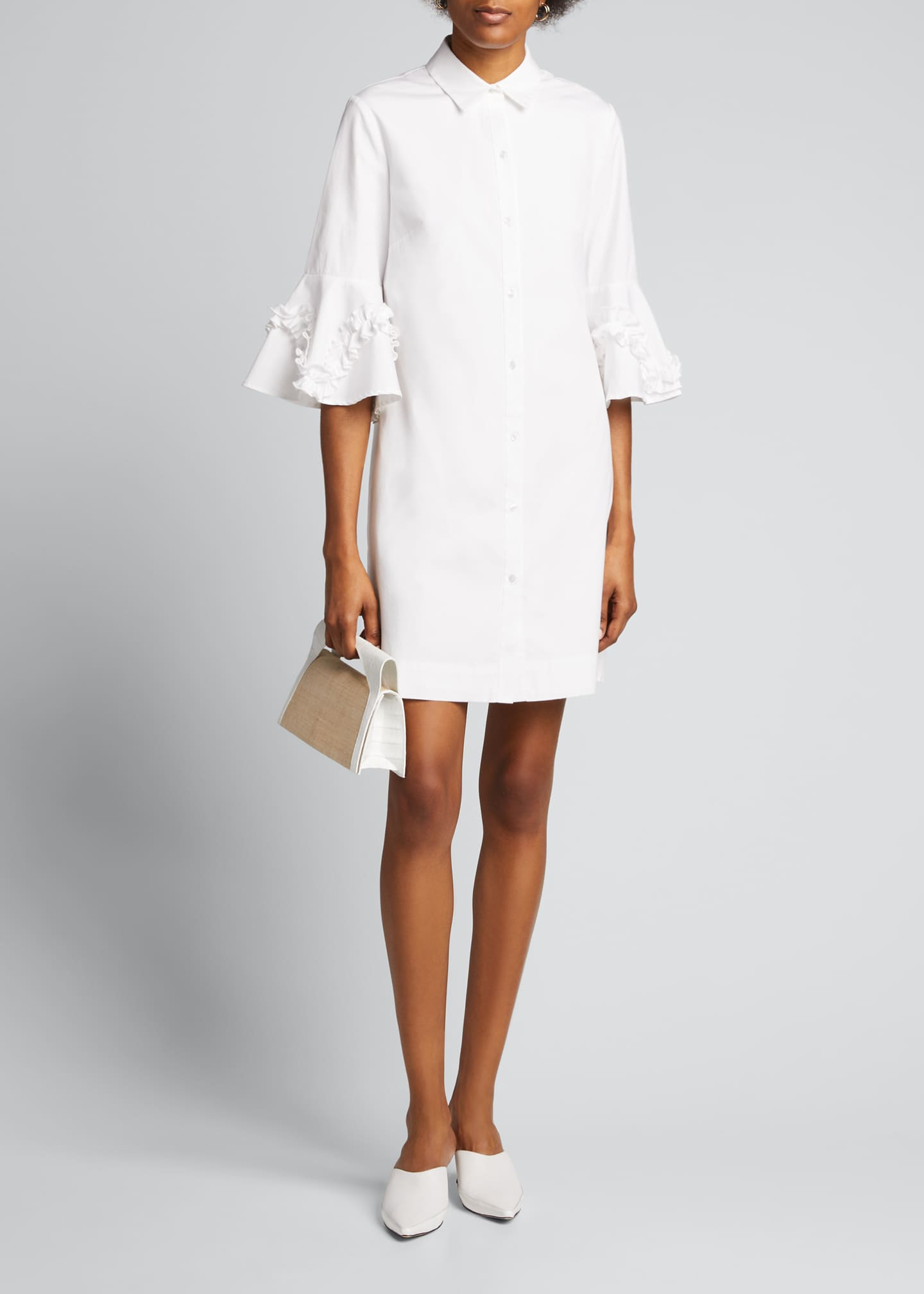 Image 1 of 5: Cotton Poplin Ruffle Sleeve Shirt Dress