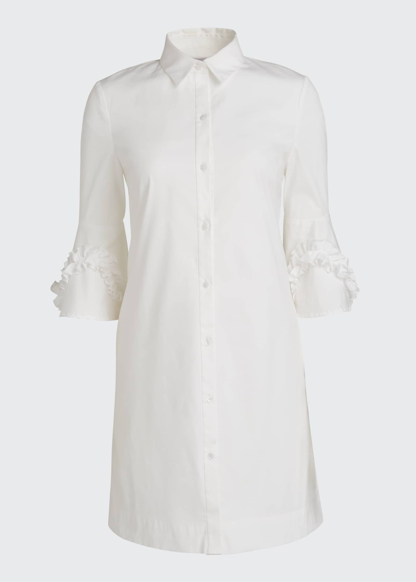 Image 5 of 5: Cotton Poplin Ruffle Sleeve Shirt Dress