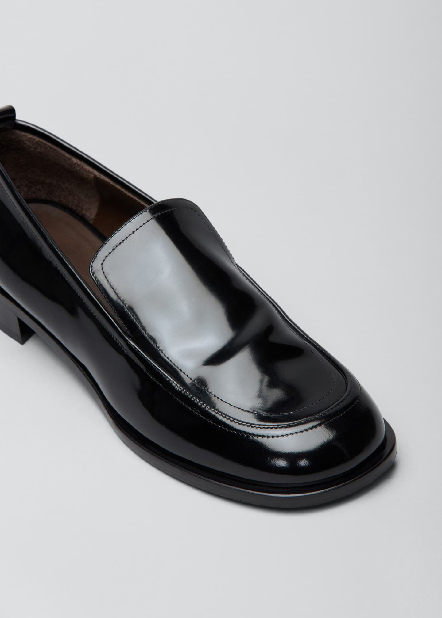 Image 3 of 3: Shiny Leather Penny Loafers