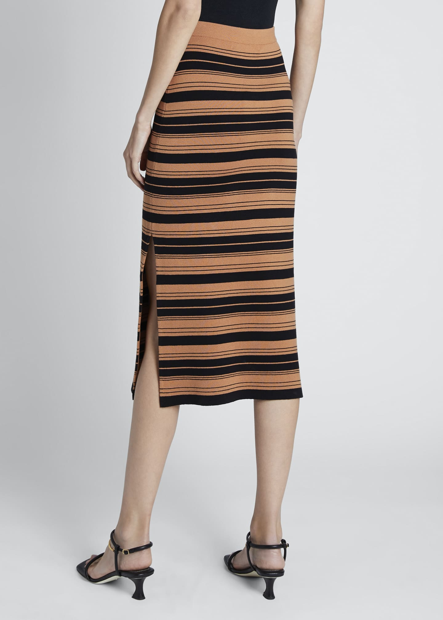 Image 2 of 3: Compact Striped Midi Skirt