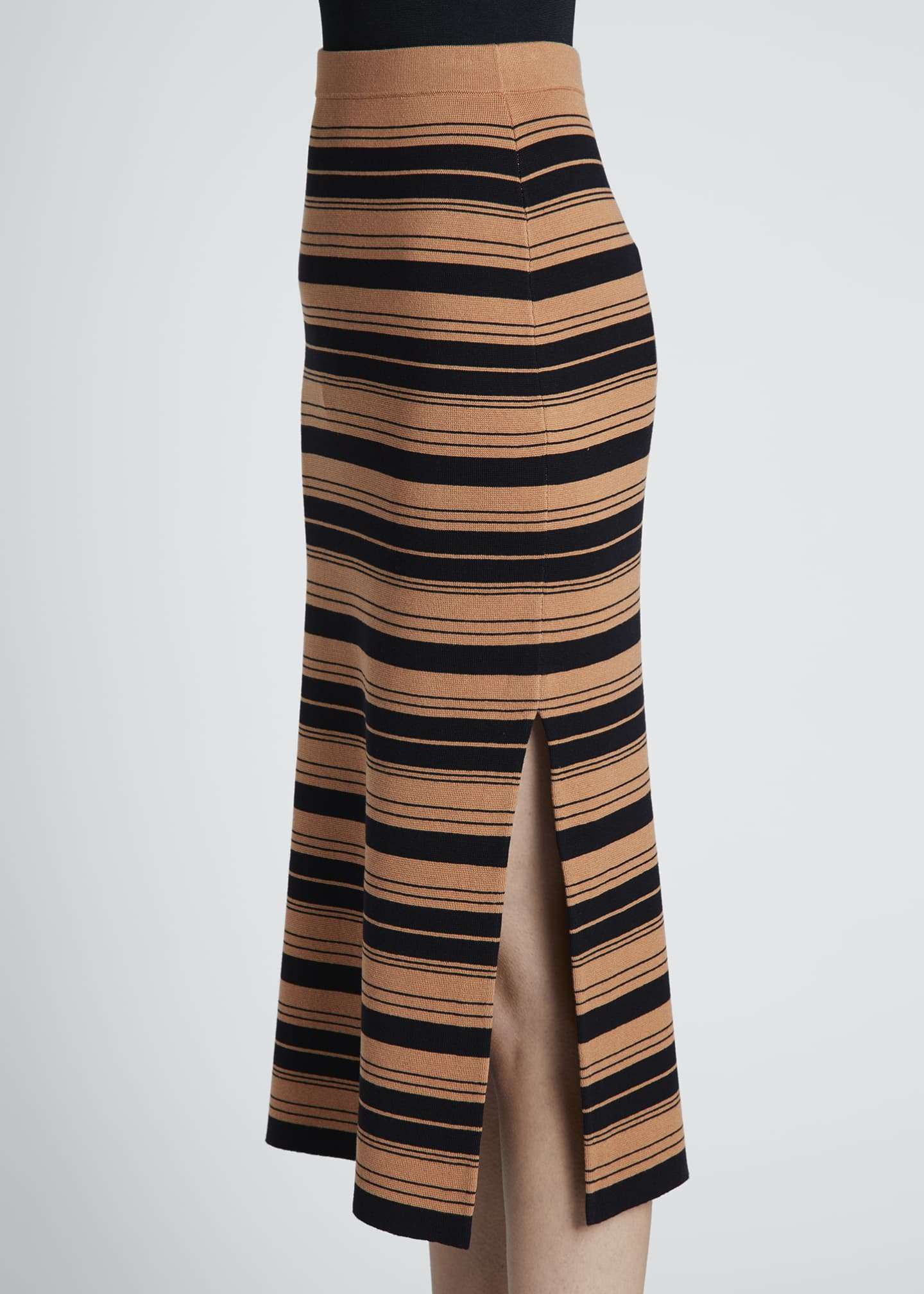 Image 3 of 3: Compact Striped Midi Skirt