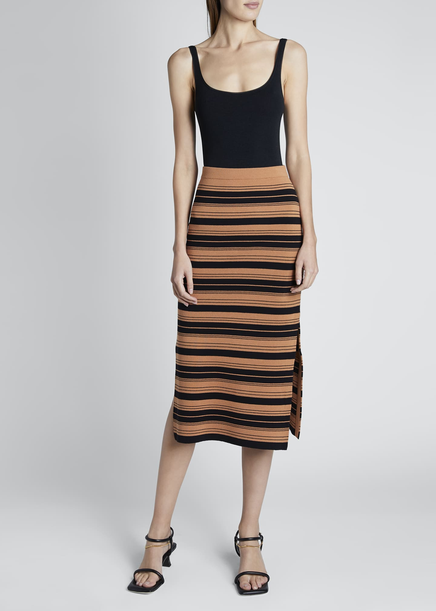 Image 1 of 3: Compact Striped Midi Skirt