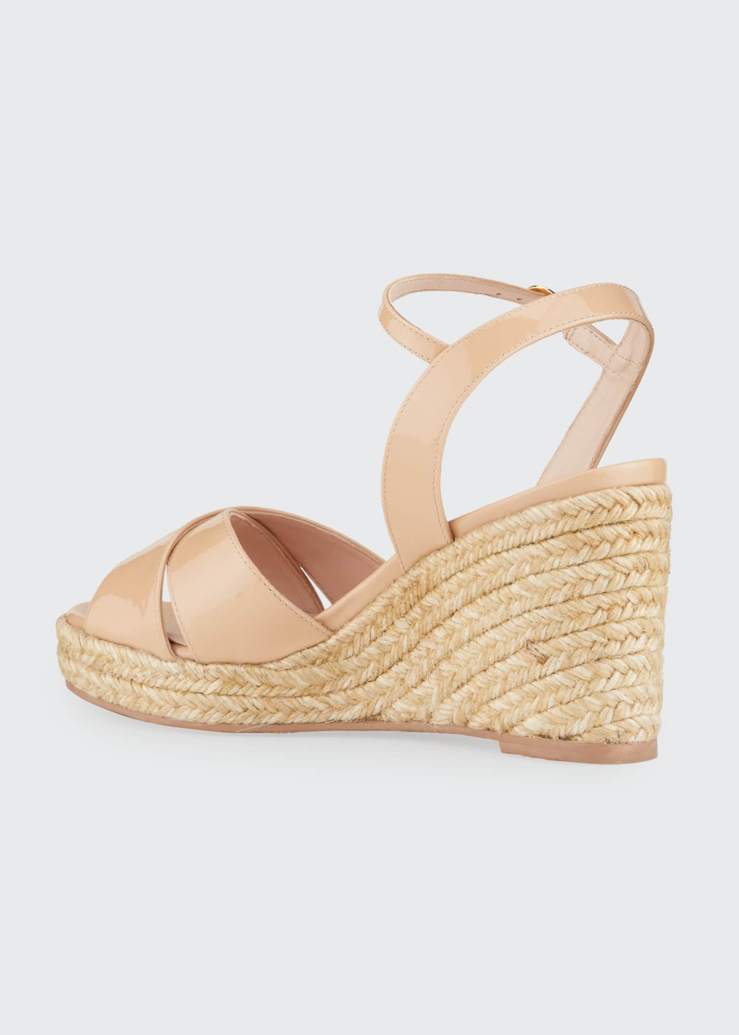 Image 4 of 5: Rosemarie Patent Leather Wedge Espadrille Sandals