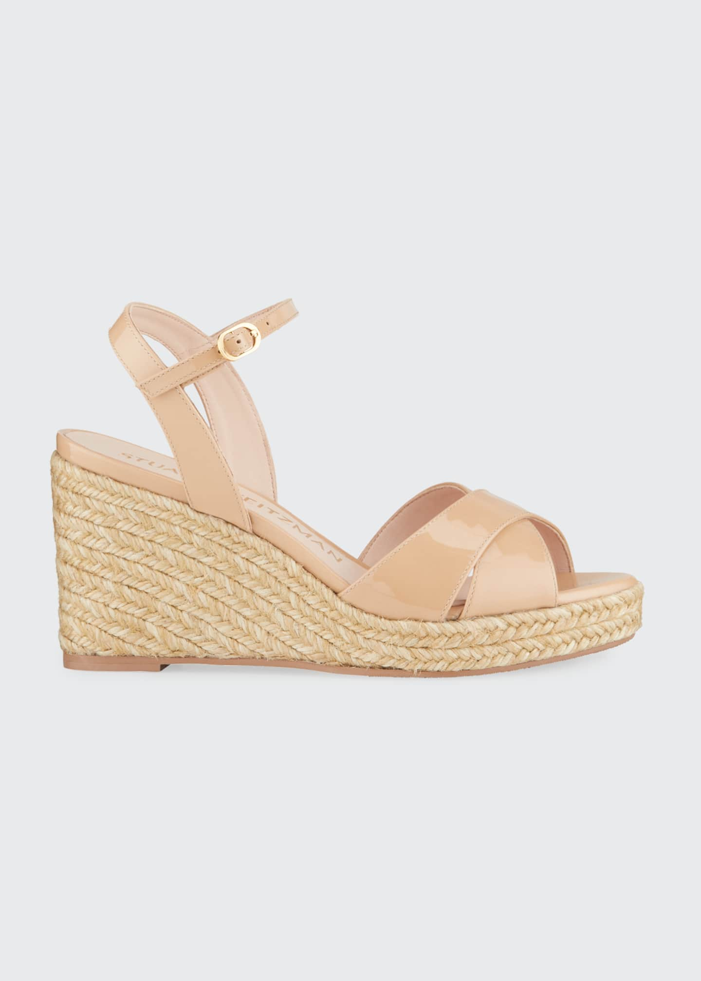 Image 1 of 5: Rosemarie Patent Leather Wedge Espadrille Sandals