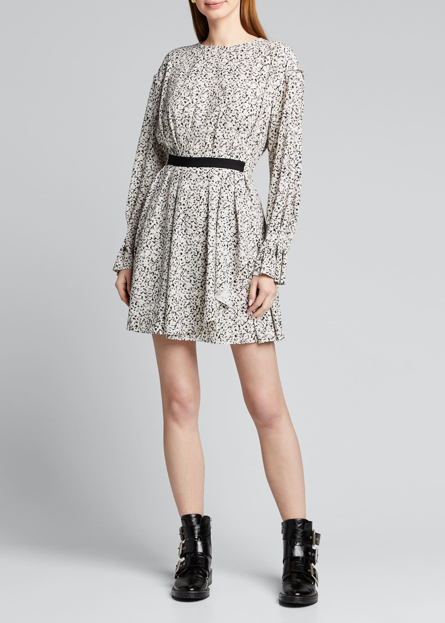Image 3 of 5: Inverse Floral Long-Sleeve Mini Dress
