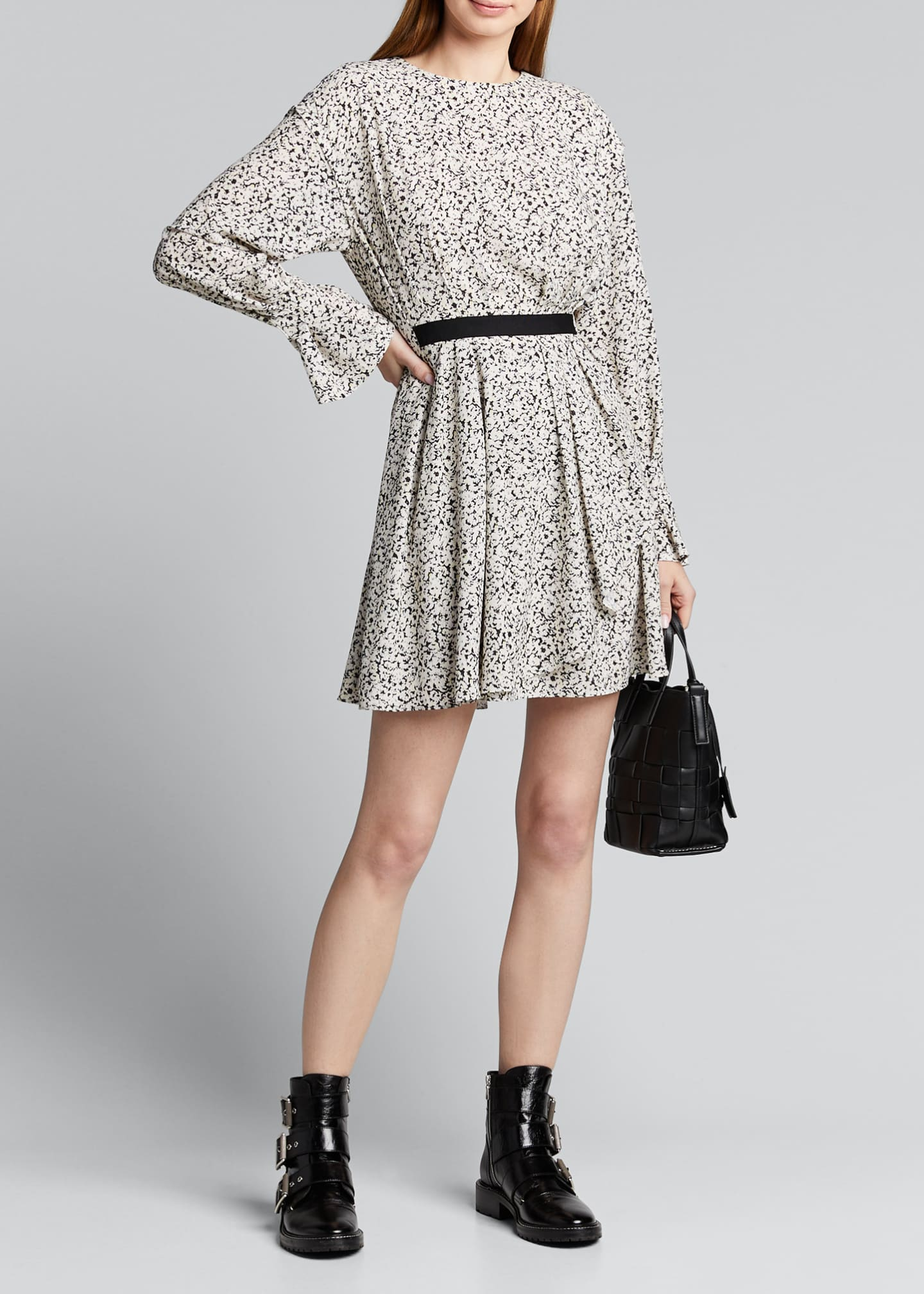 Image 1 of 5: Inverse Floral Long-Sleeve Mini Dress