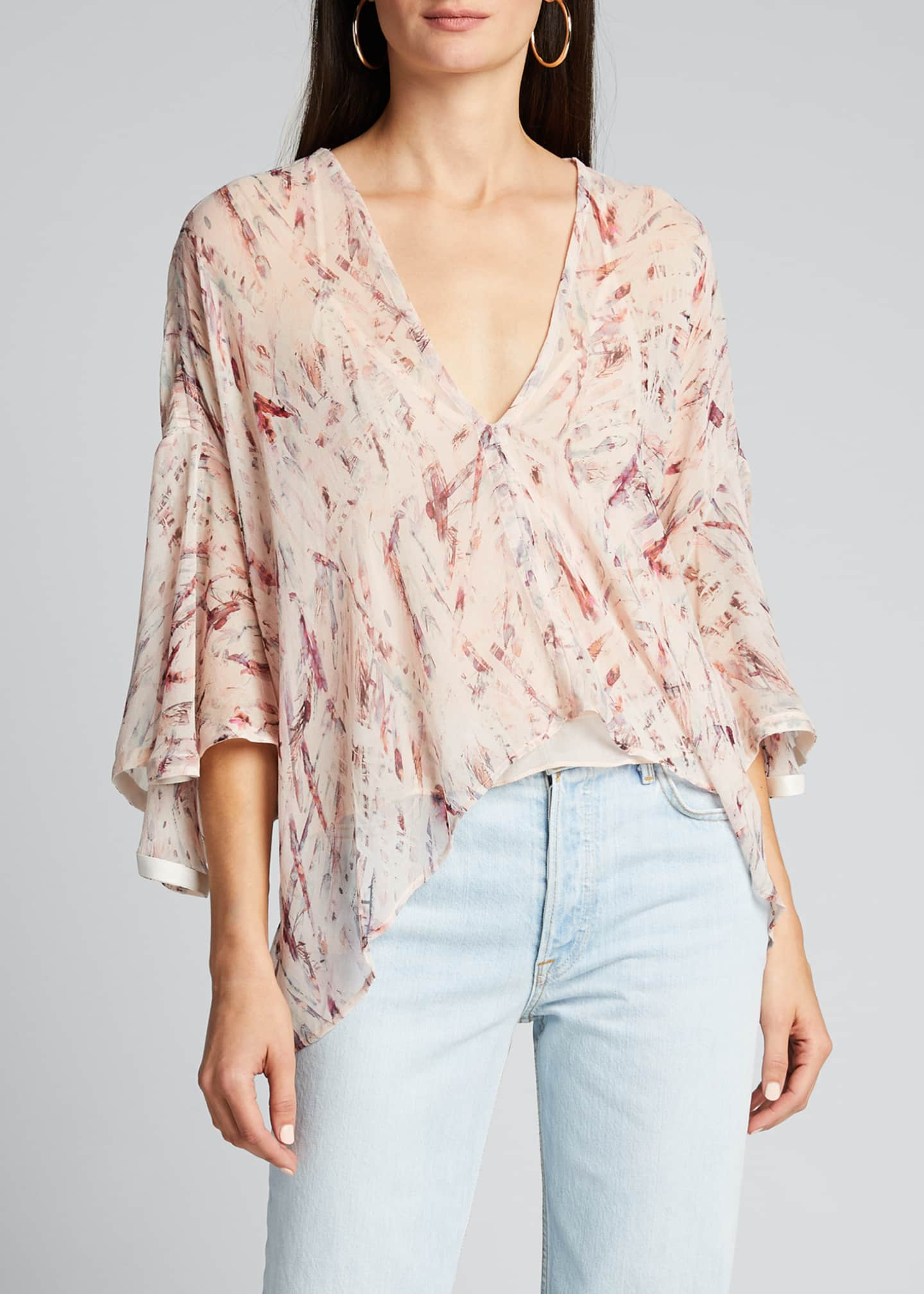 Image 3 of 5: Justie Printed V-Neck Asymmetric Top
