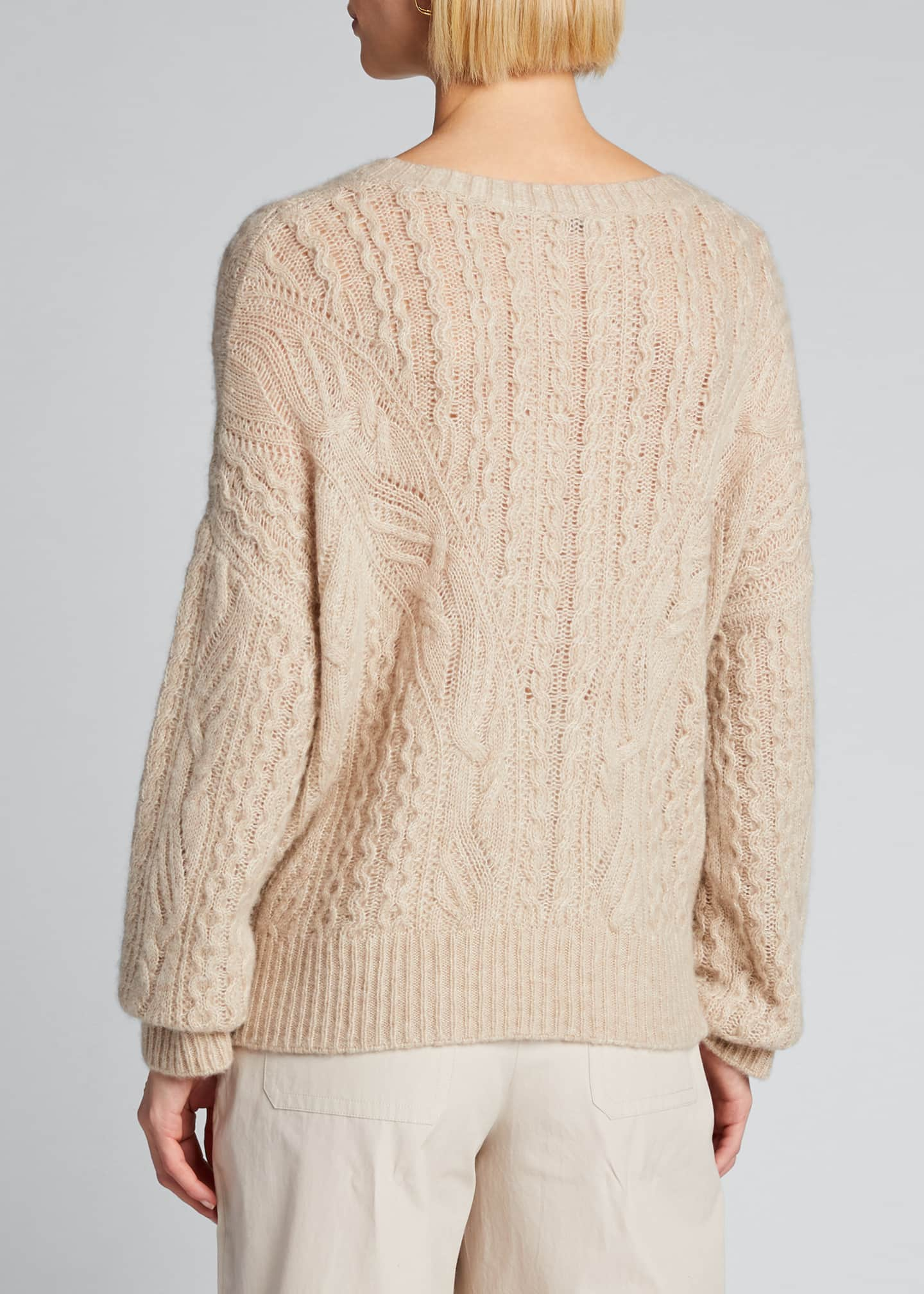 Image 2 of 5: Crewneck Open Cable-Knit Sweater