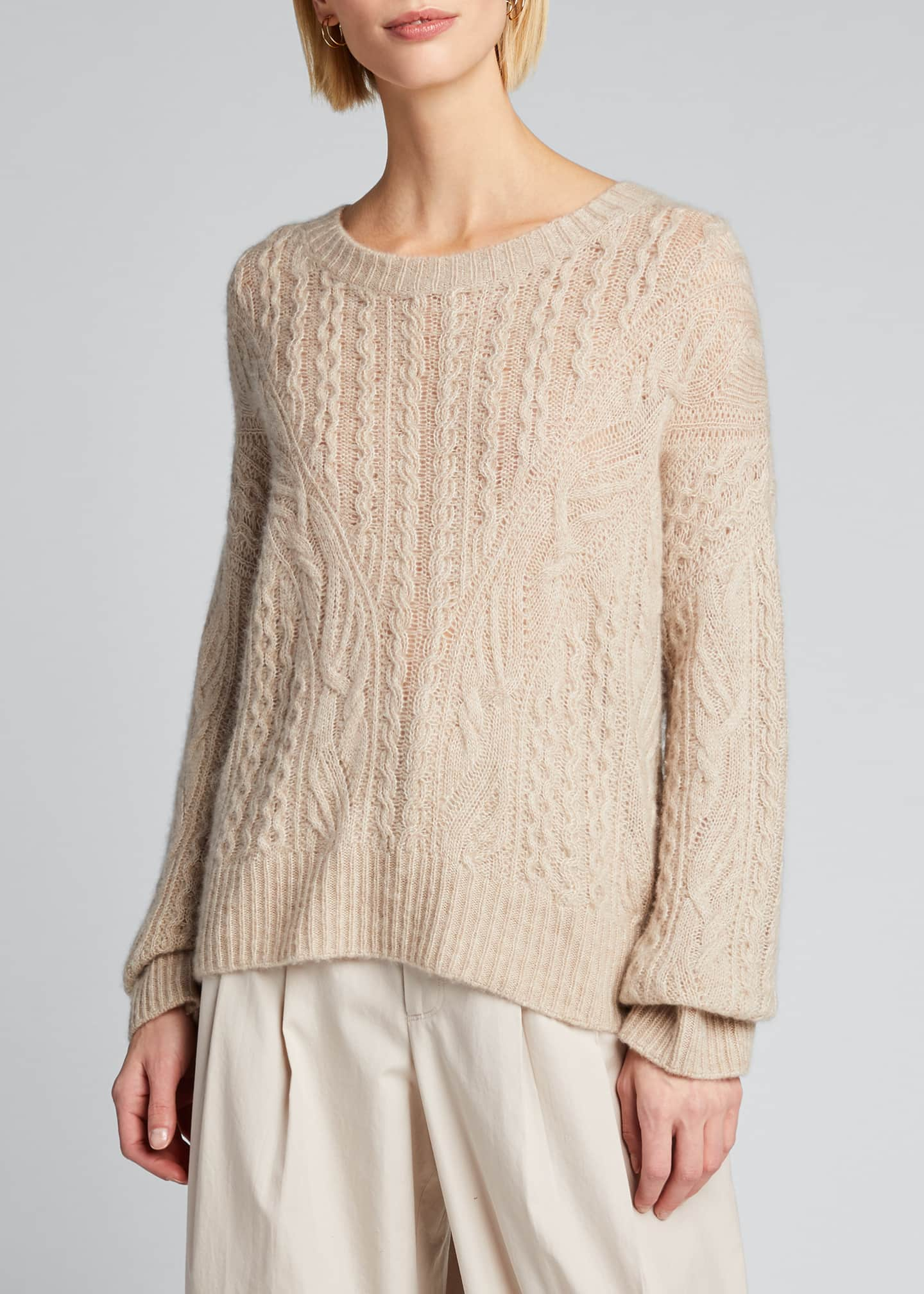 Image 3 of 5: Crewneck Open Cable-Knit Sweater