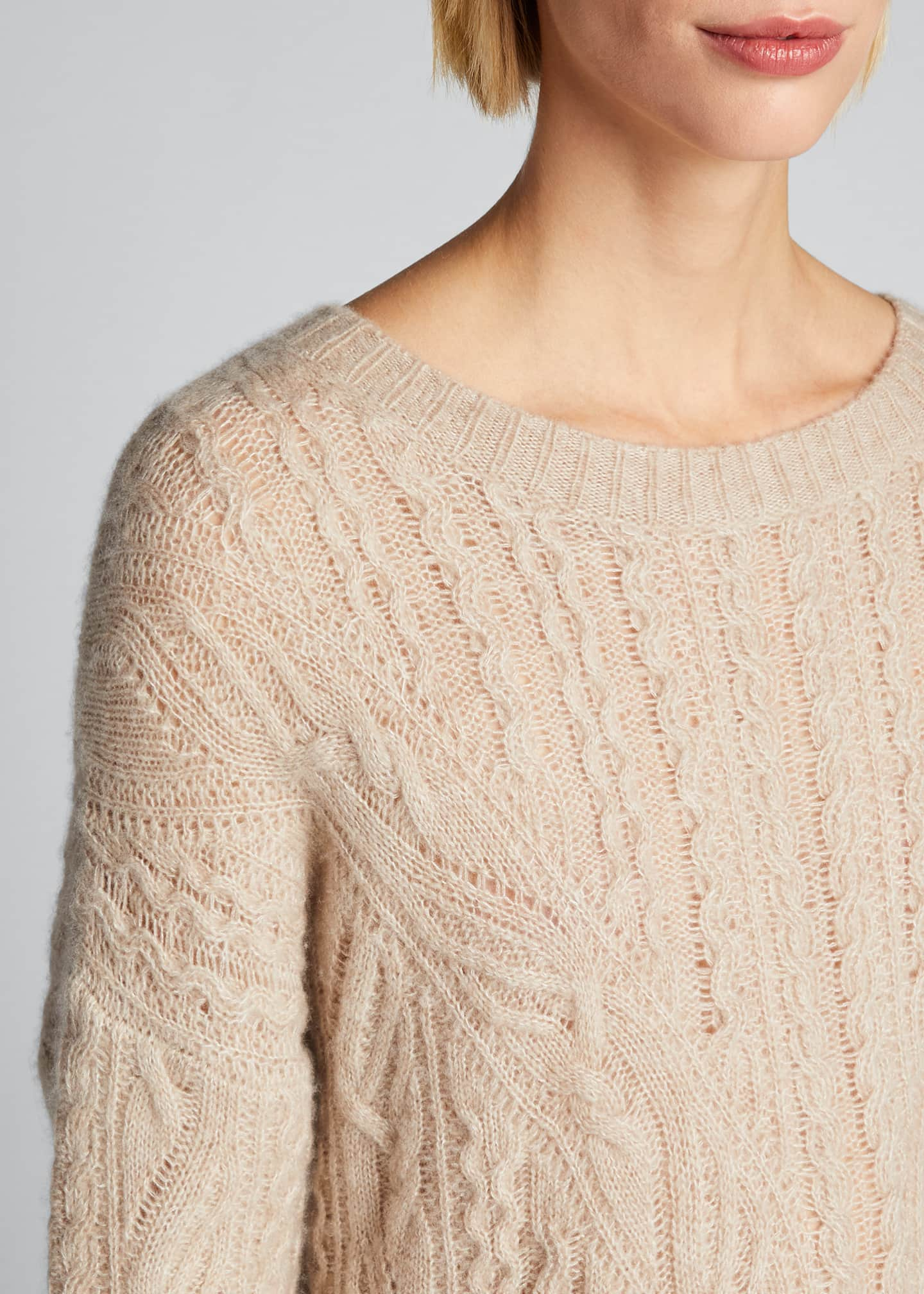 Image 4 of 5: Crewneck Open Cable-Knit Sweater