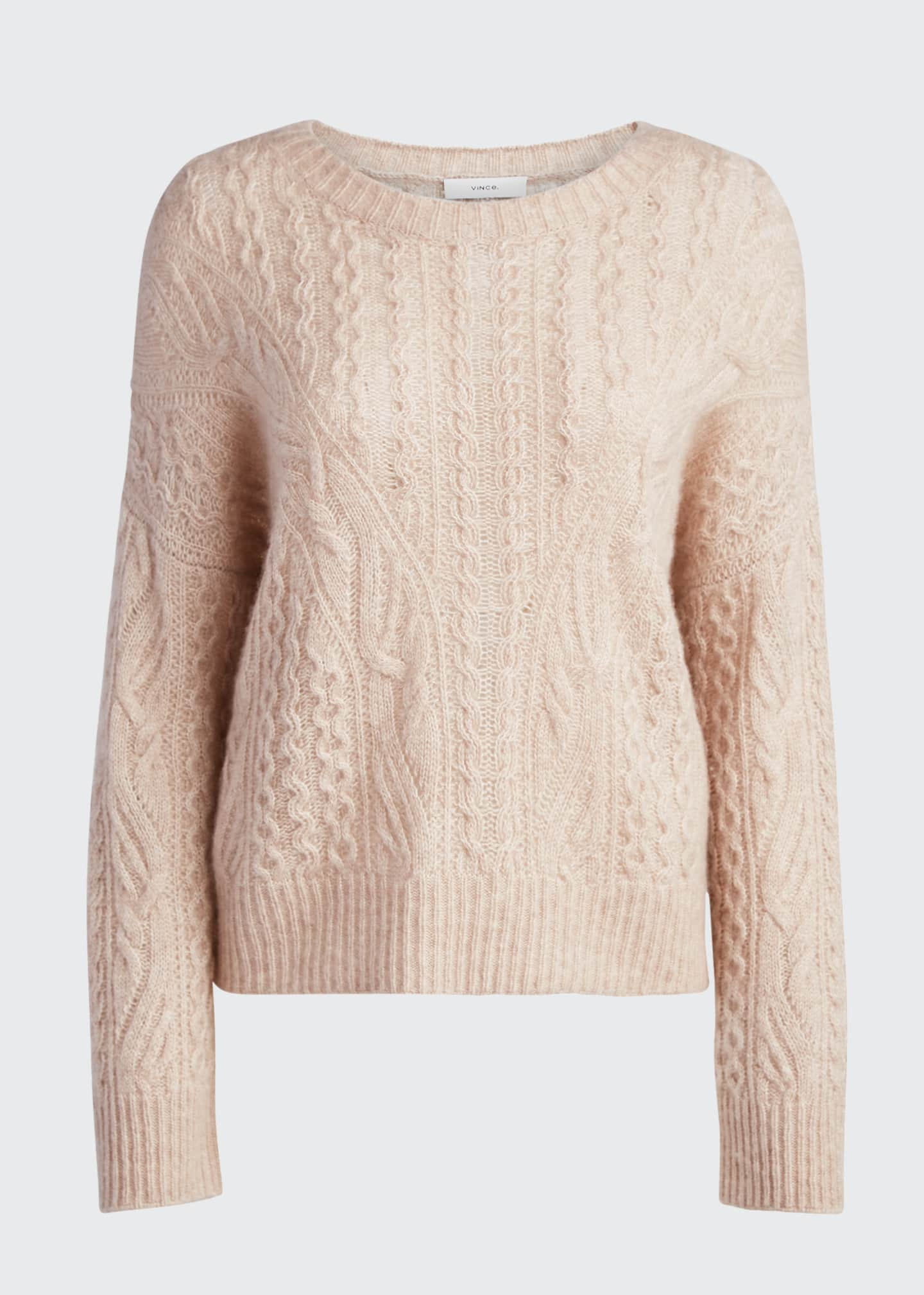 Image 5 of 5: Crewneck Open Cable-Knit Sweater