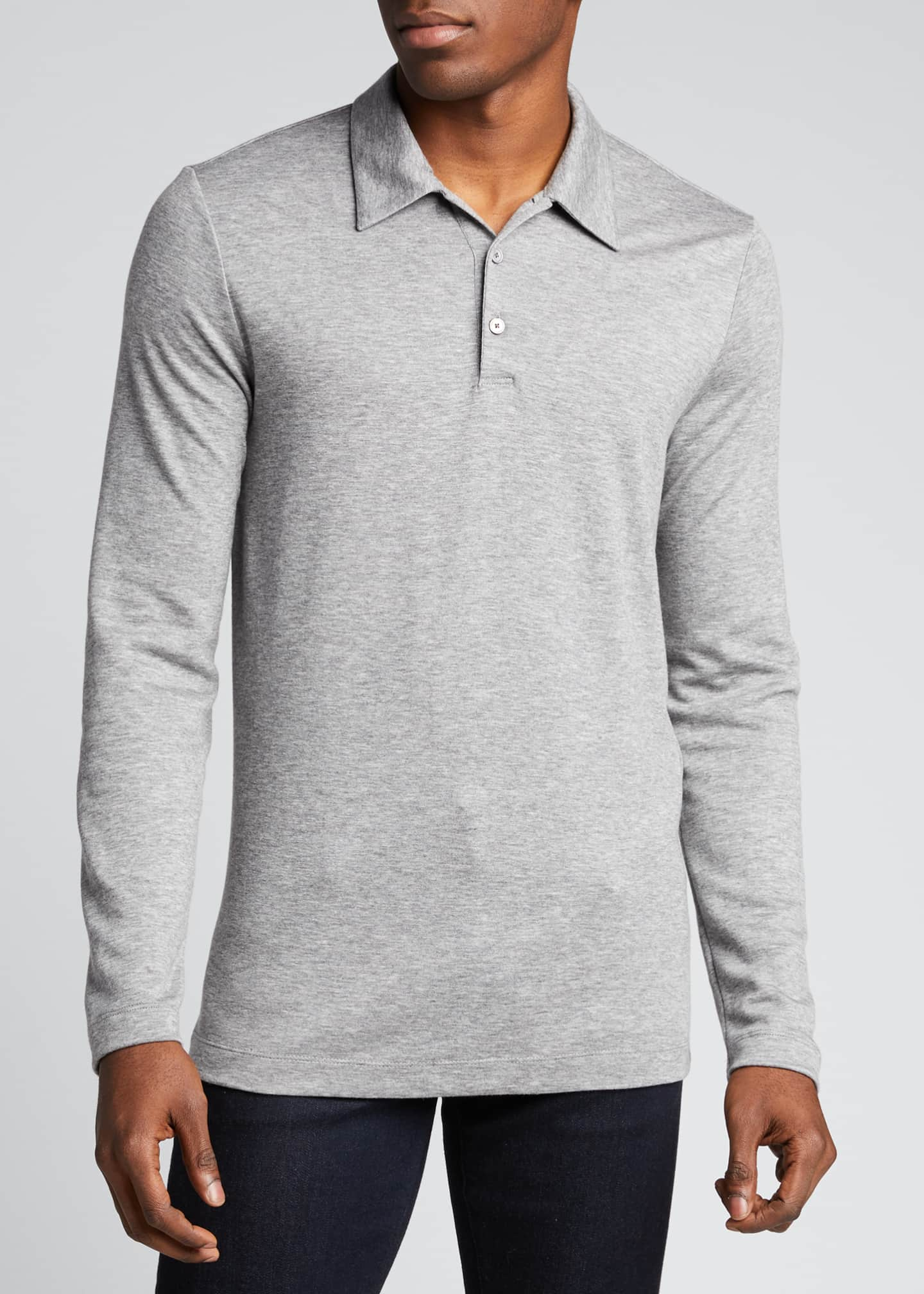 Image 3 of 5: Men's Double-Cashmere Jersey Long-Sleeve Shirt