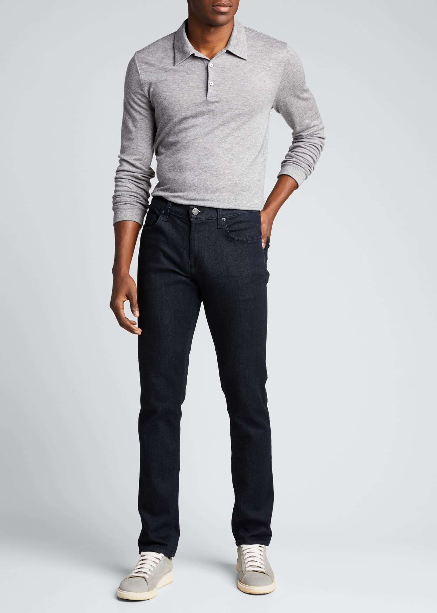 Image 1 of 5: Men's Double-Cashmere Jersey Long-Sleeve Shirt