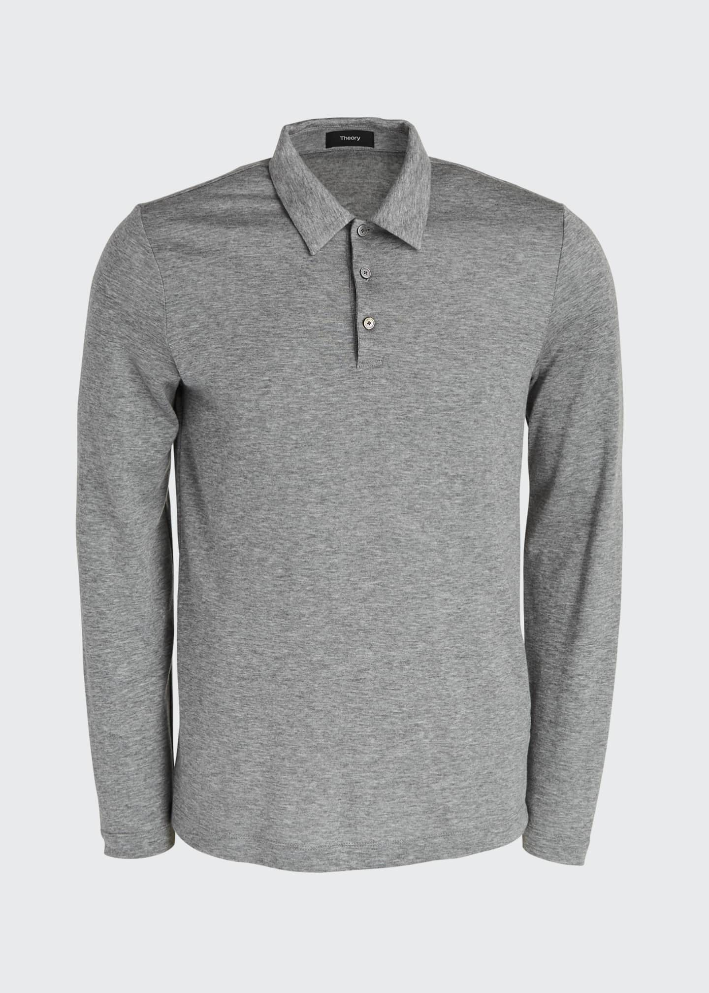 Image 5 of 5: Men's Double-Cashmere Jersey Long-Sleeve Shirt