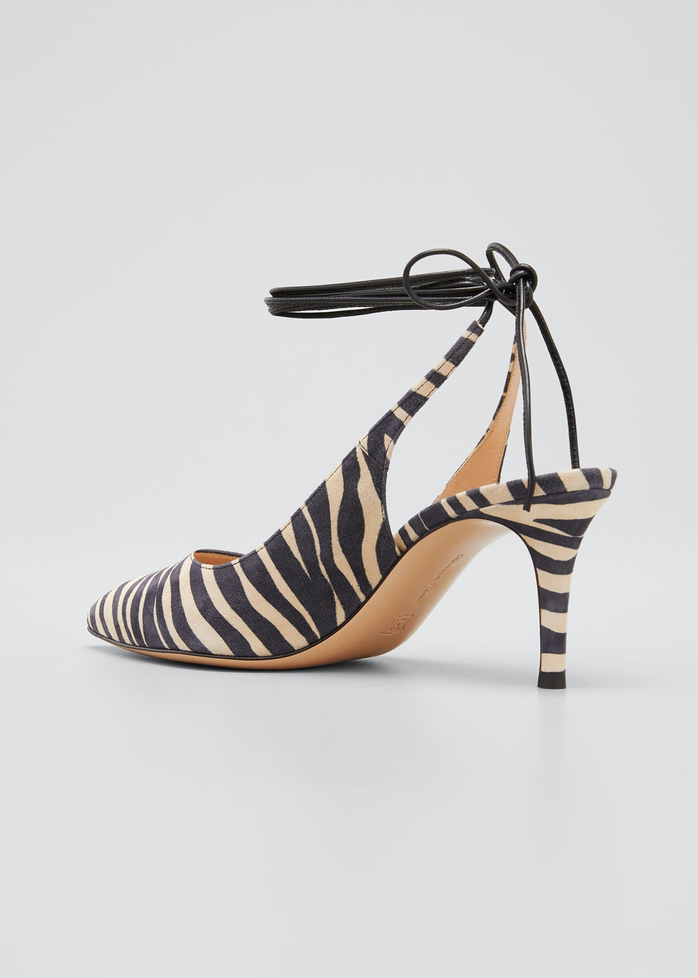 Image 2 of 3: Zebra-Print Suede Ankle-Tie Pumps