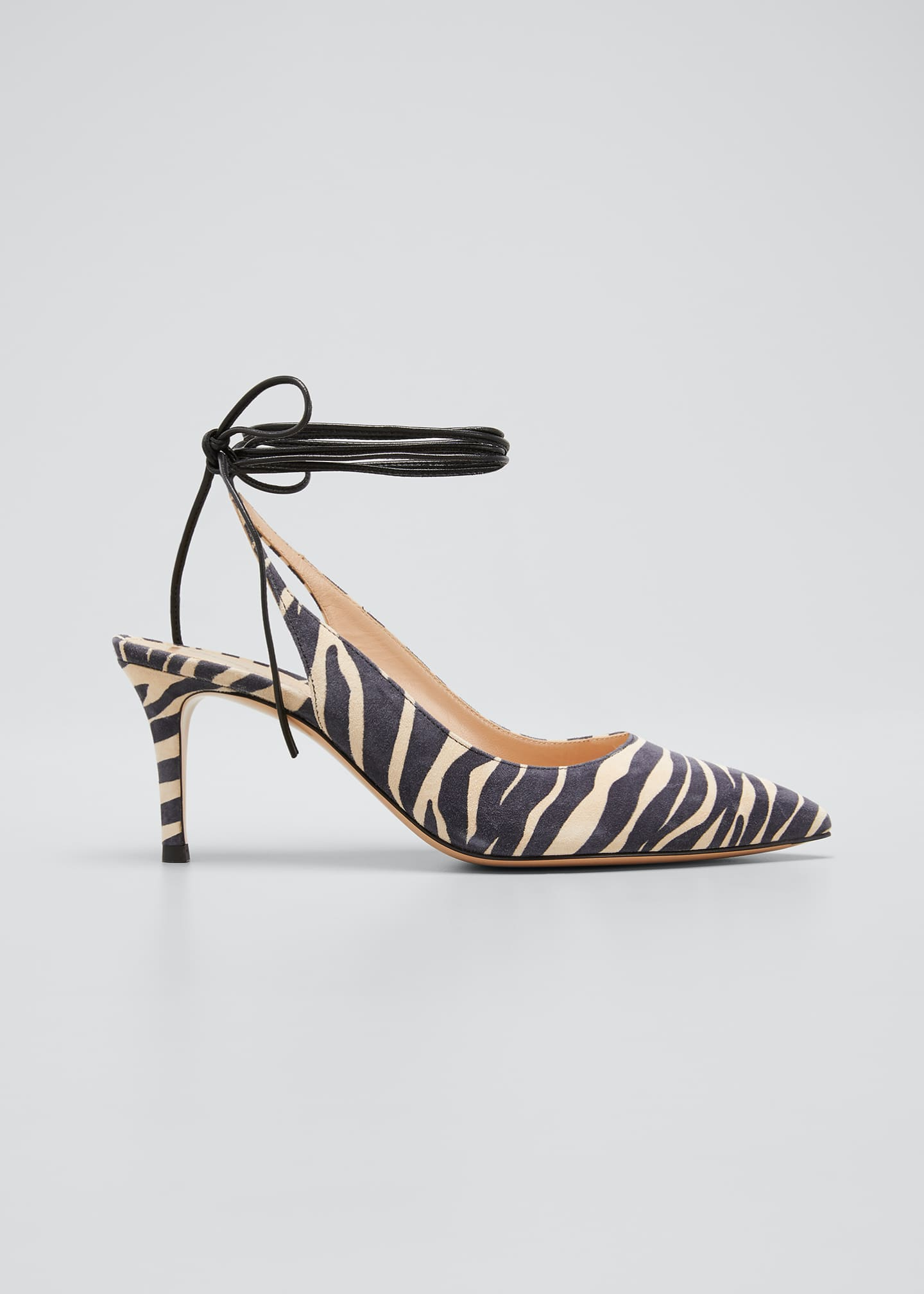 Image 1 of 3: Zebra-Print Suede Ankle-Tie Pumps
