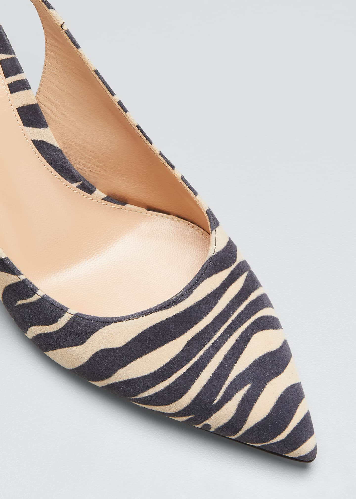 Image 3 of 3: Zebra-Print Suede Ankle-Tie Pumps