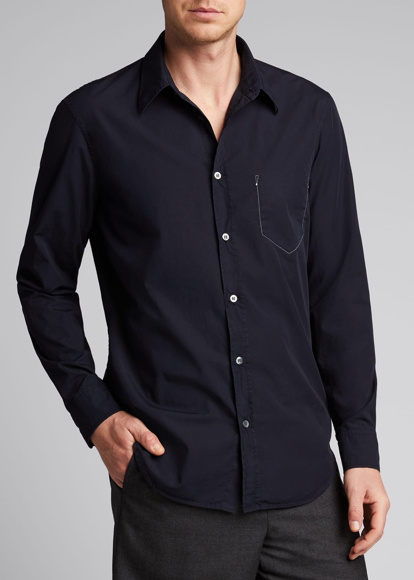 Image 3 of 5: Men's Garment-Dyed Sport Shirt w/ Pocket Stitching