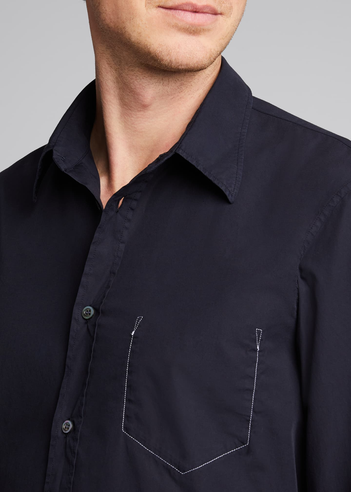 Image 4 of 5: Men's Garment-Dyed Sport Shirt w/ Pocket Stitching