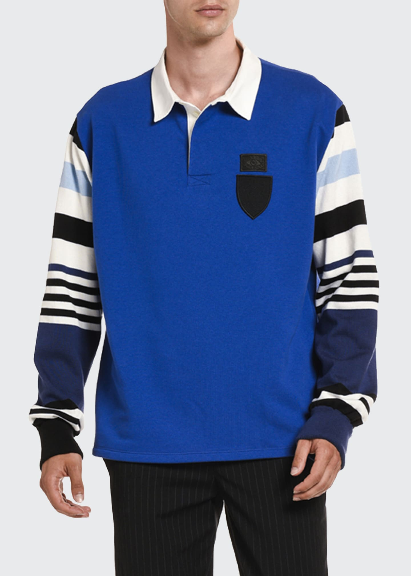 Image 1 of 2: Men's Stripe-Trim Rugby Shirt