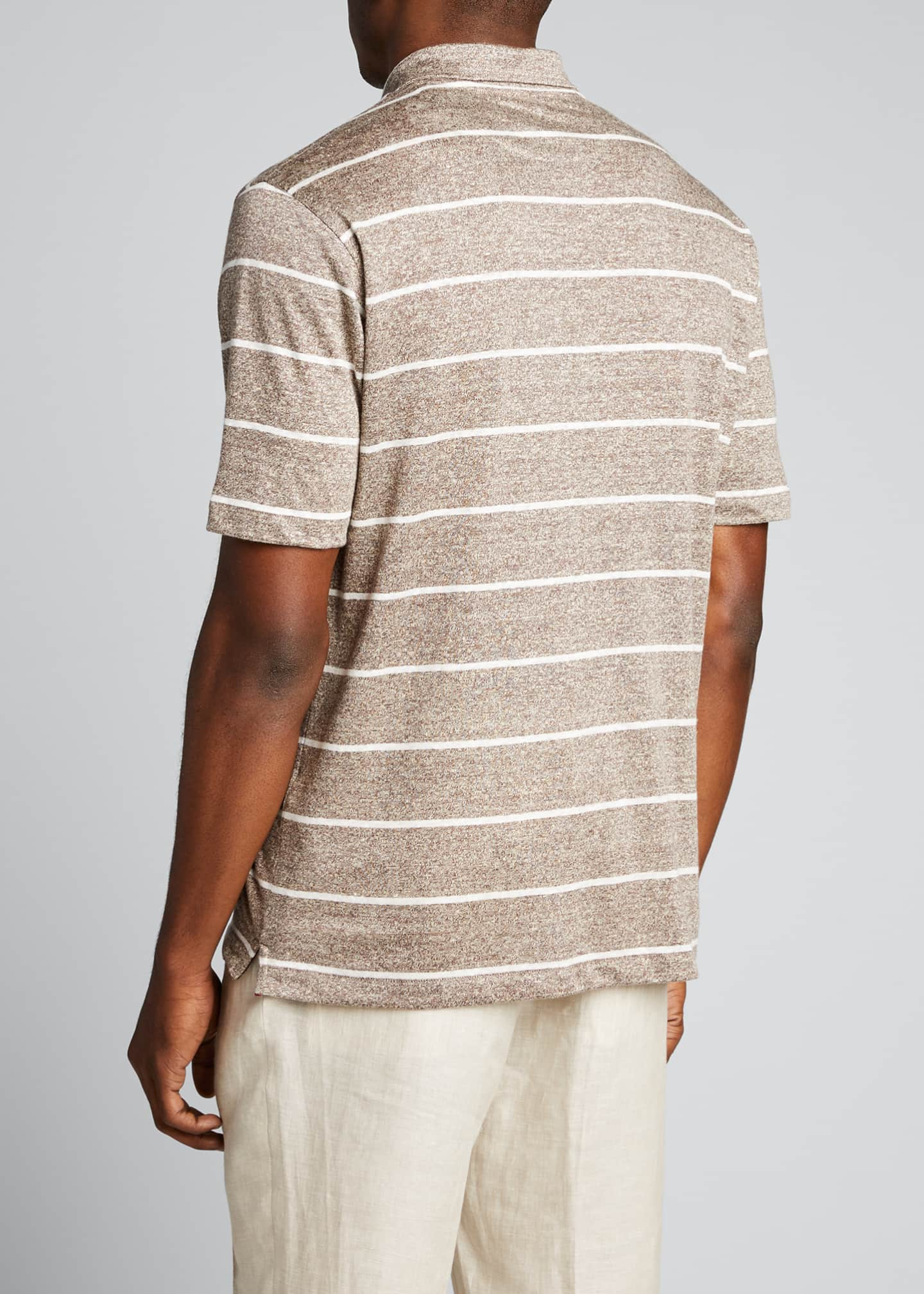 Image 2 of 4: Men's Striped Linen-Effect Polo Shirt