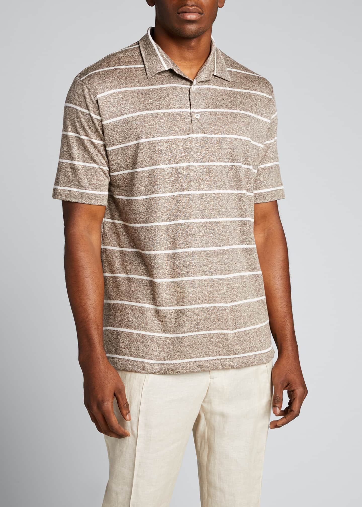 Image 3 of 4: Men's Striped Linen-Effect Polo Shirt