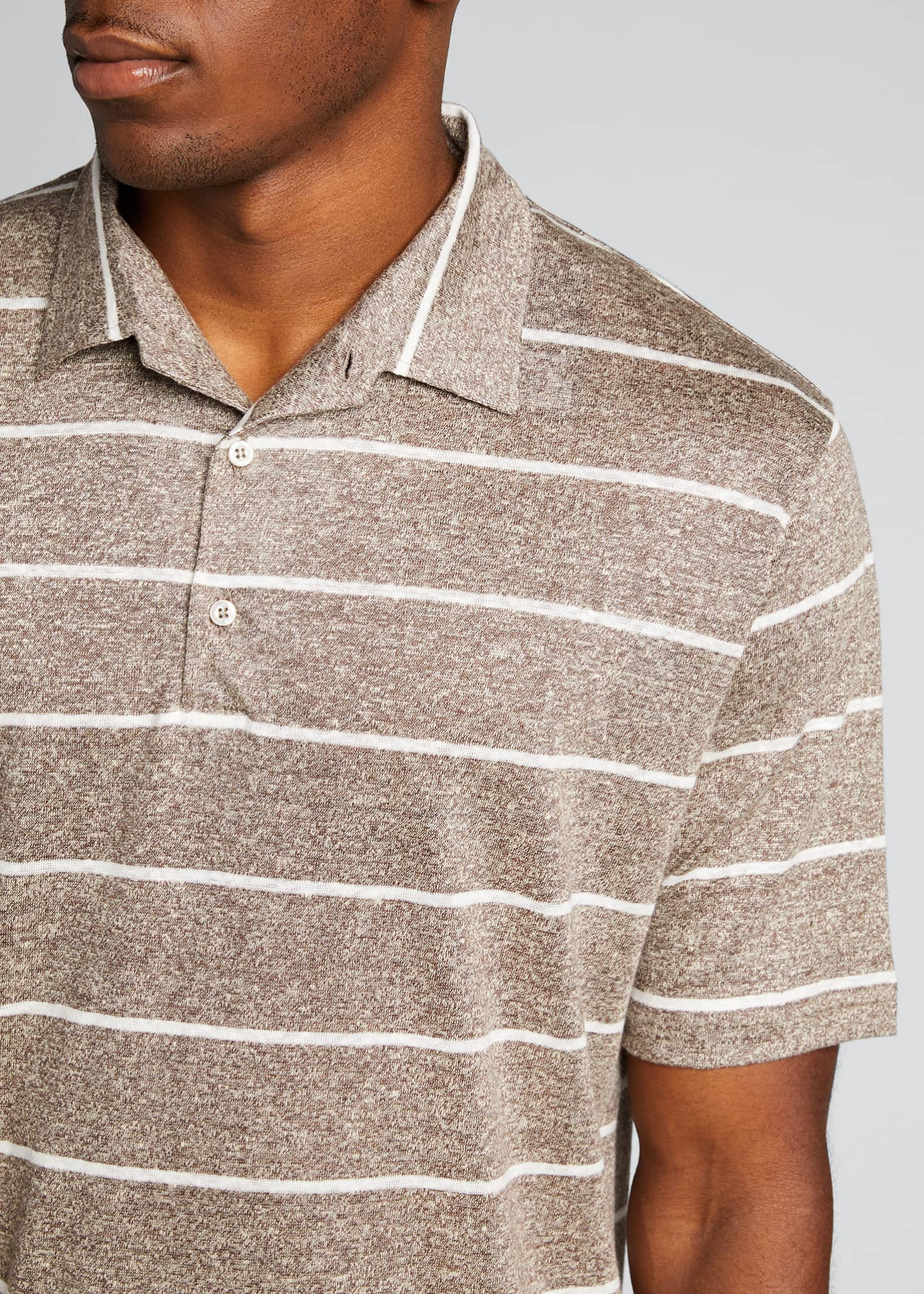 Image 4 of 4: Men's Striped Linen-Effect Polo Shirt