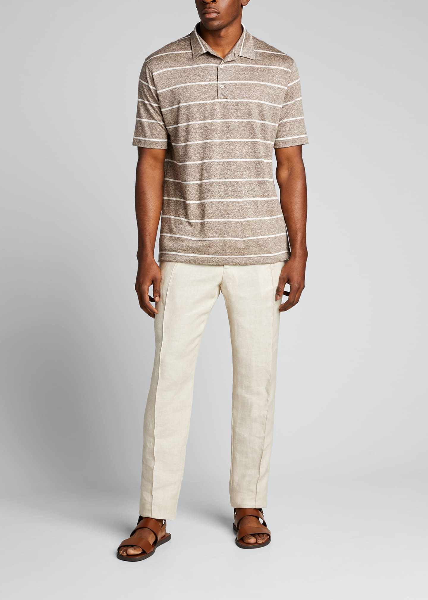 Image 1 of 4: Men's Striped Linen-Effect Polo Shirt