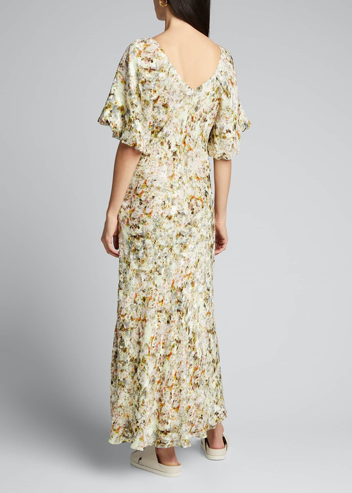 Image 2 of 5: Floral Jacquard Puff-Sleeve Maxi Dress