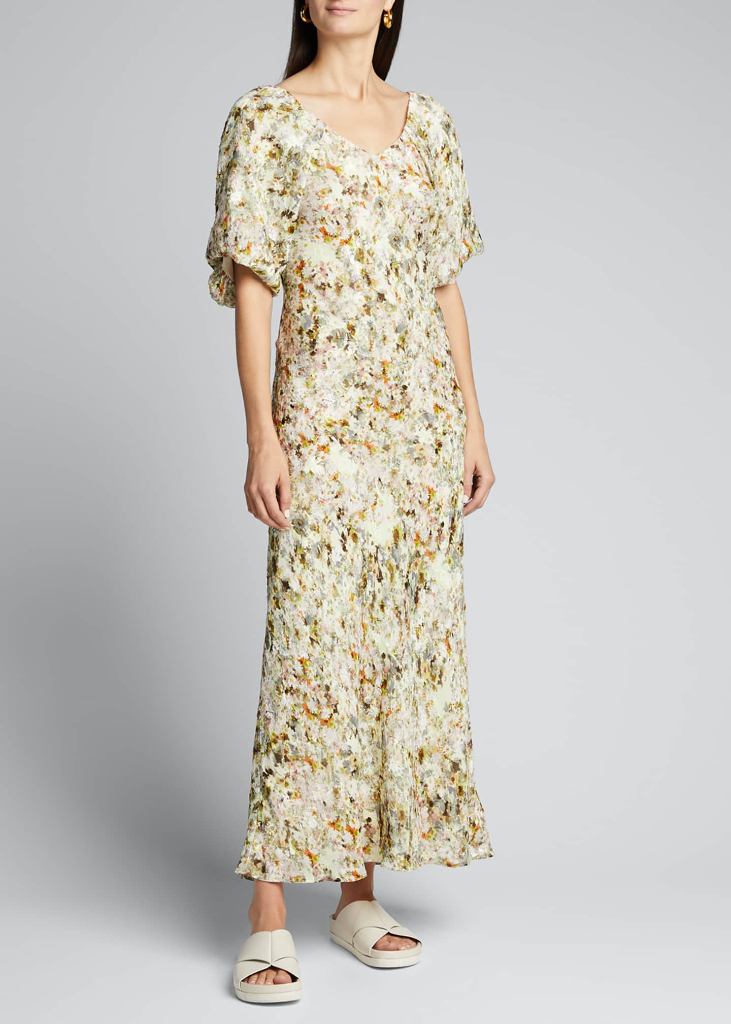Image 3 of 5: Floral Jacquard Puff-Sleeve Maxi Dress