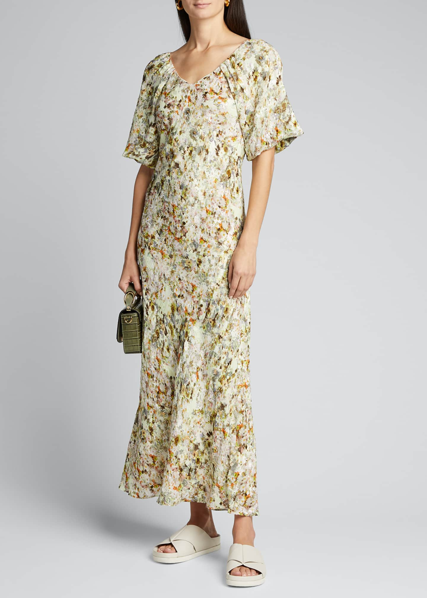 Image 1 of 5: Floral Jacquard Puff-Sleeve Maxi Dress