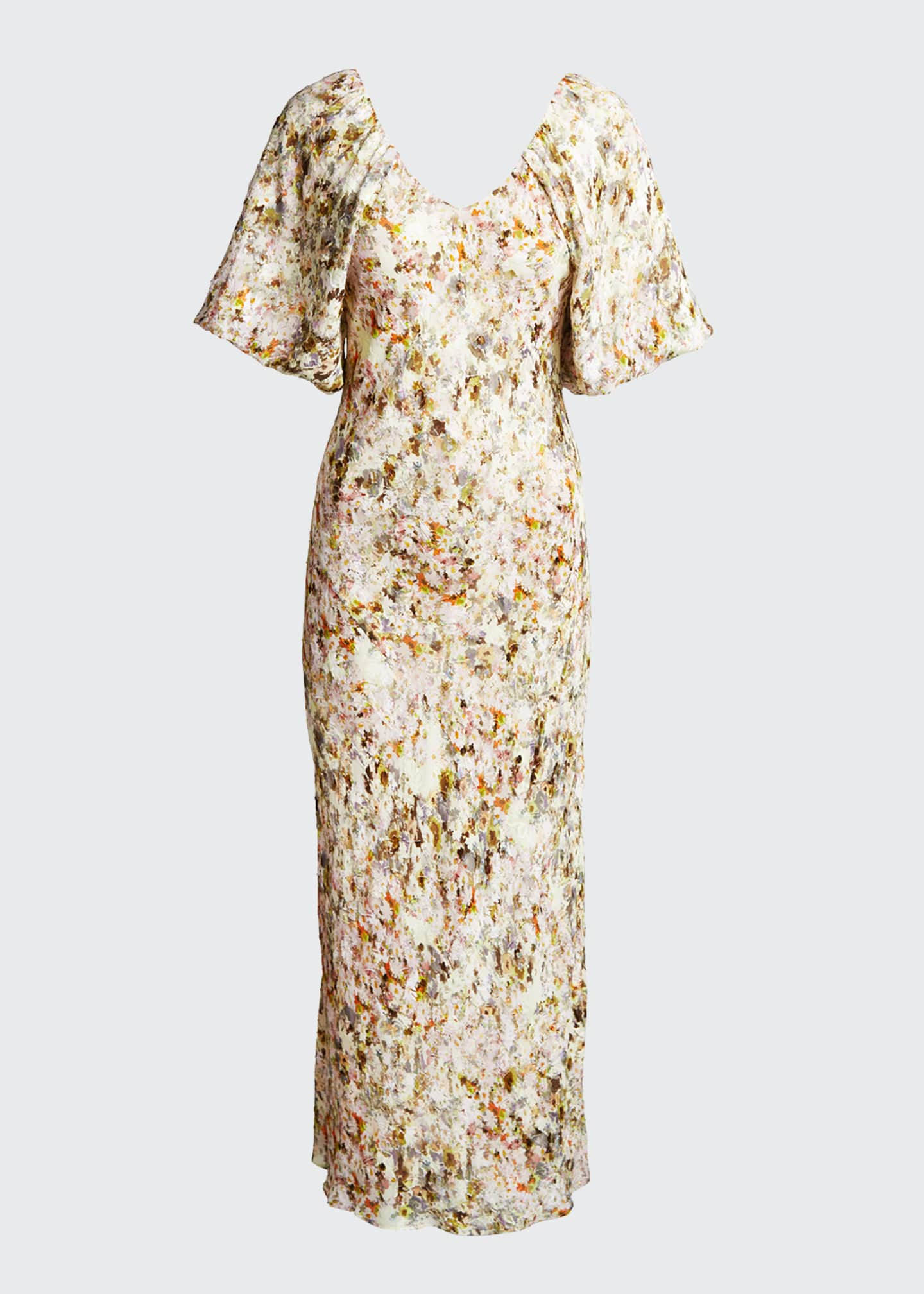 Image 5 of 5: Floral Jacquard Puff-Sleeve Maxi Dress