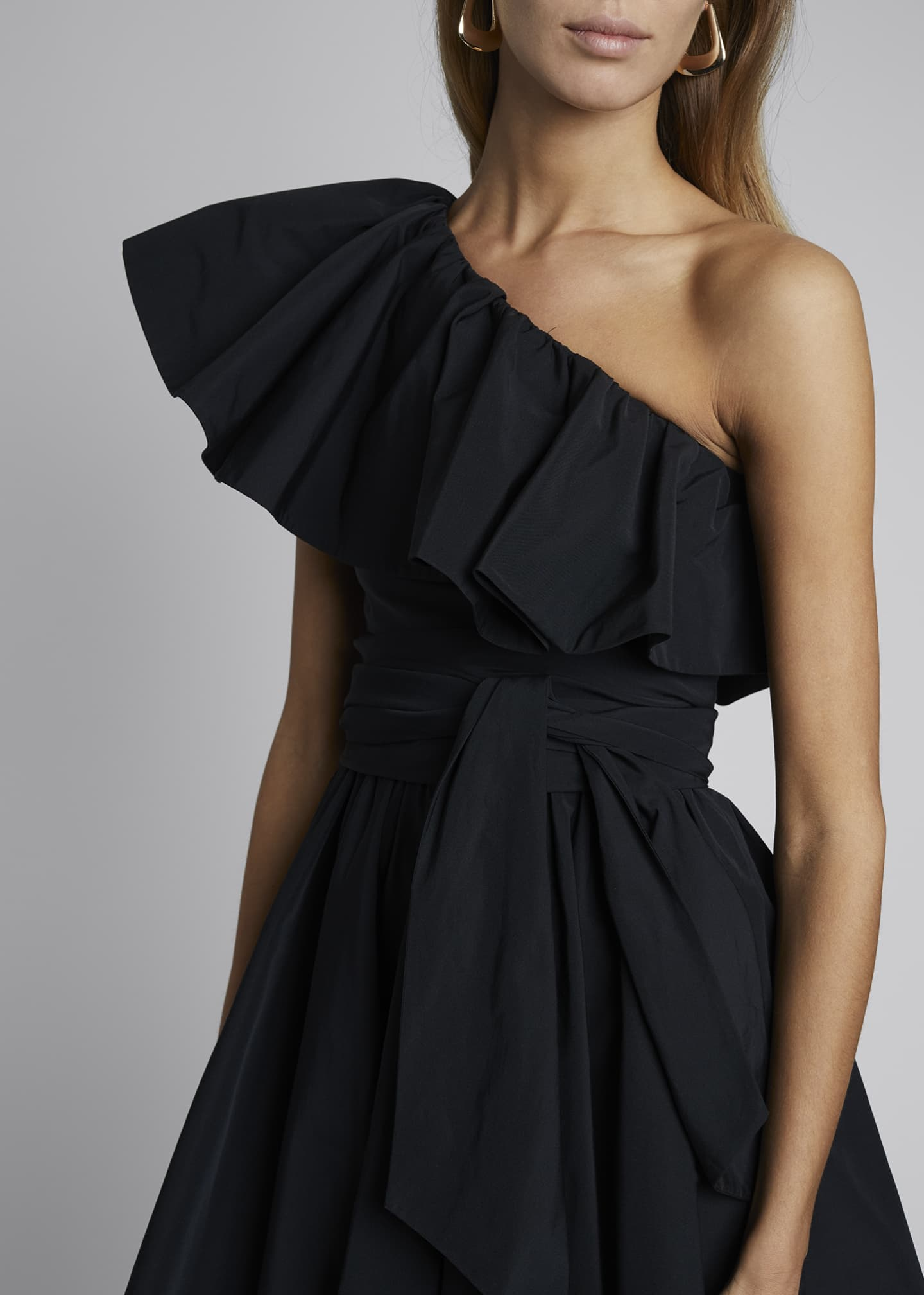 Image 4 of 4: One-Shoulder Micro Faille Dress