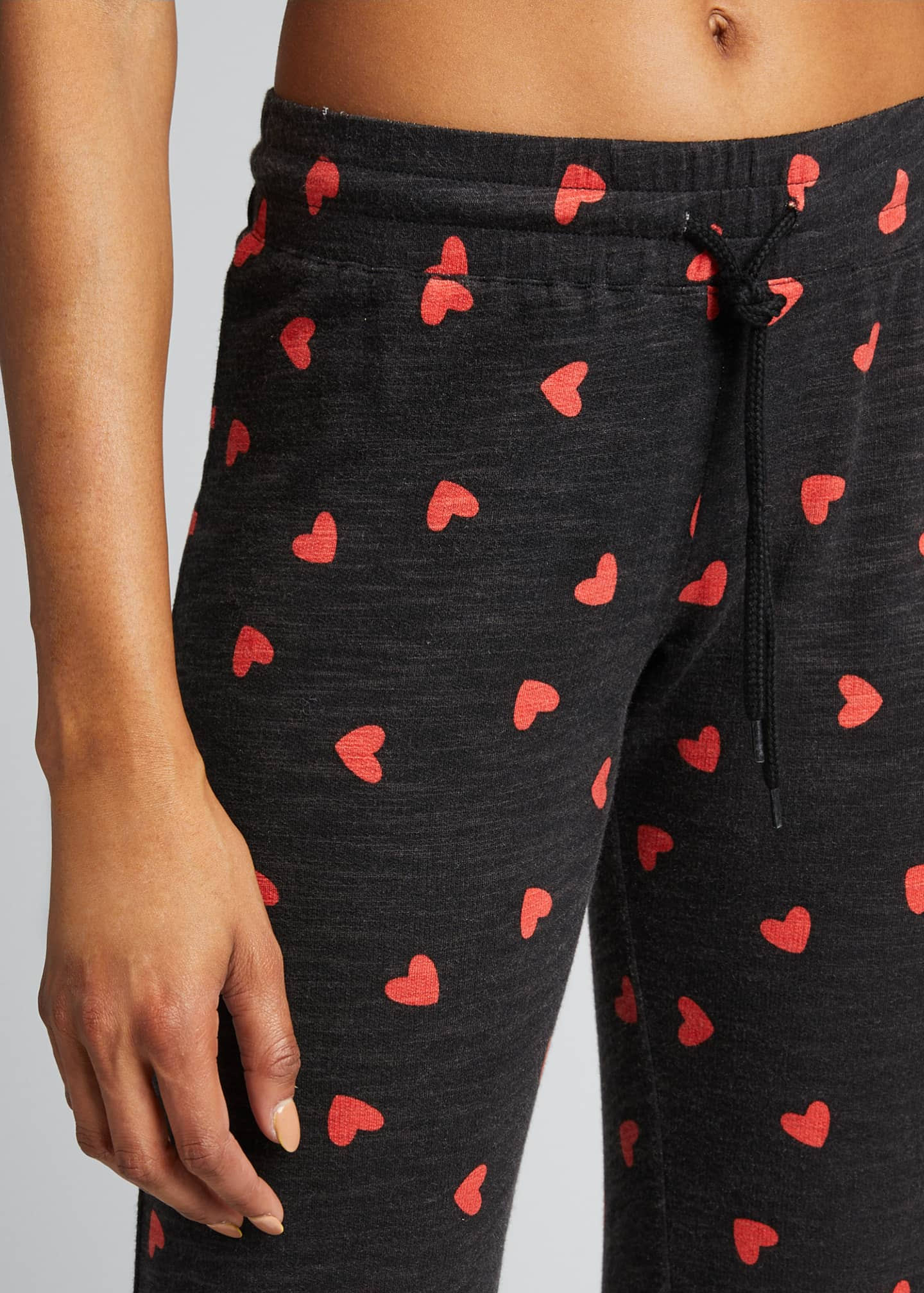 Image 4 of 5: Heart Print Drawstring Vintage Sweatpants