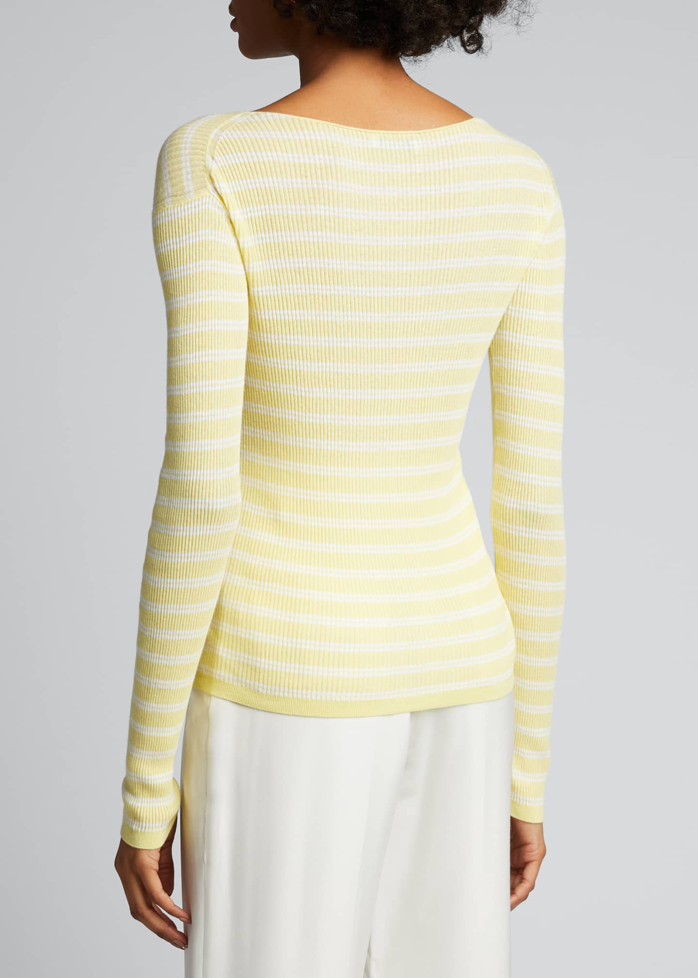Image 2 of 5: Striped Rib Boat-Neck Top