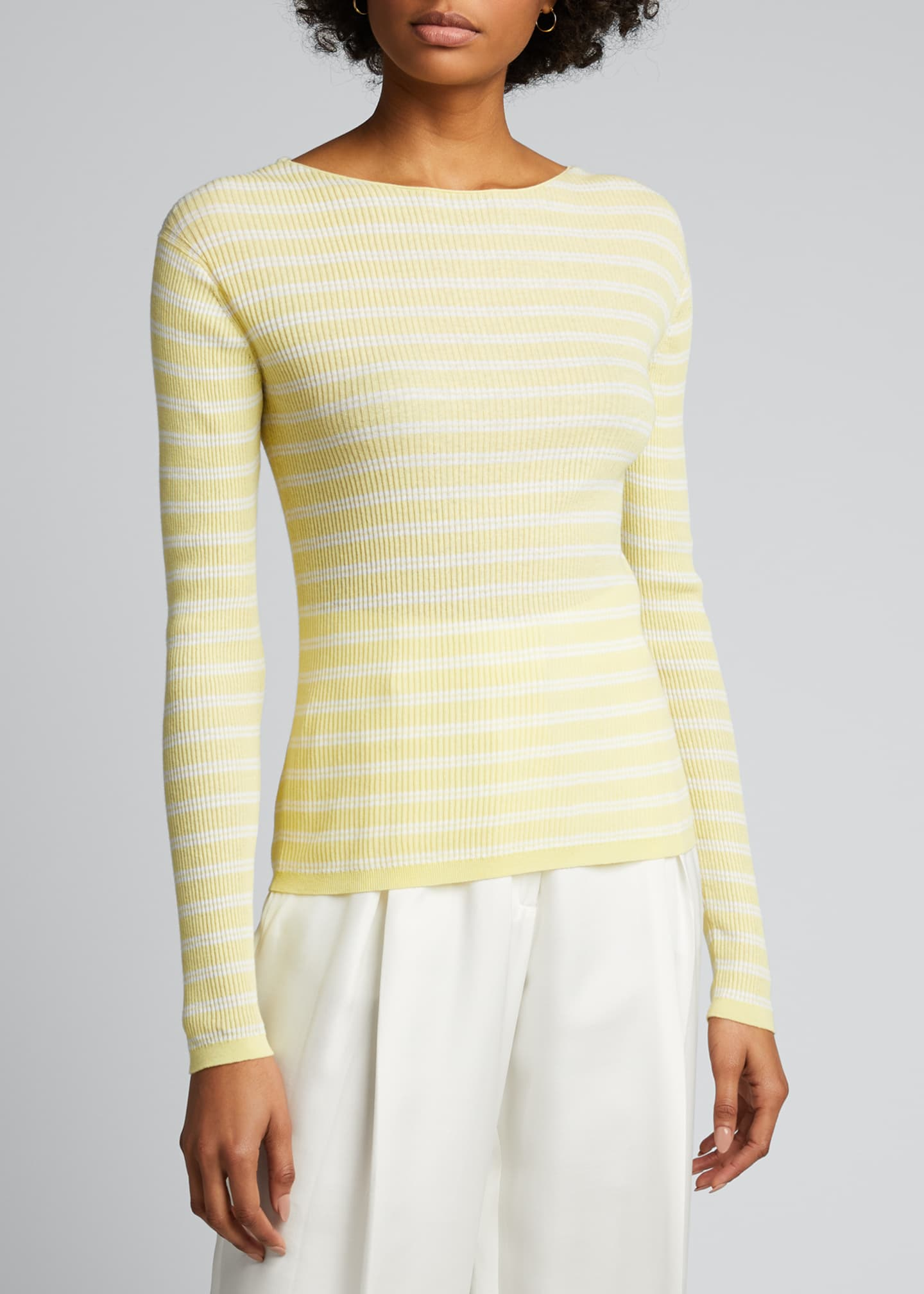Image 3 of 5: Striped Rib Boat-Neck Top