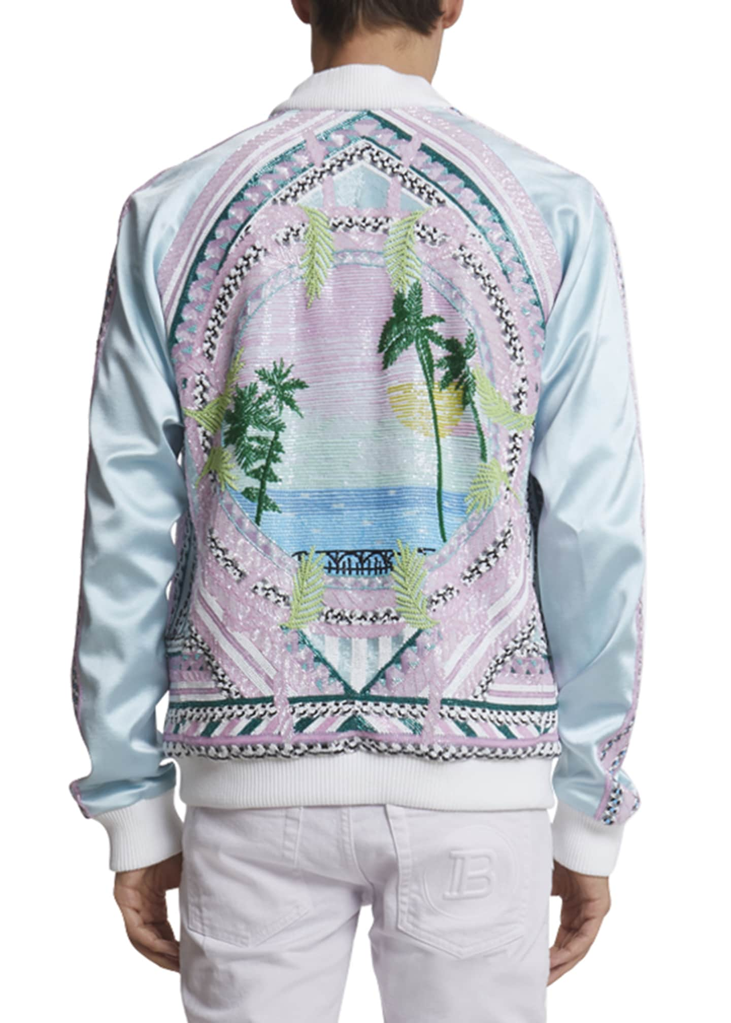 Image 2 of 3: Men's Embroidered Silk Bomber Jacket