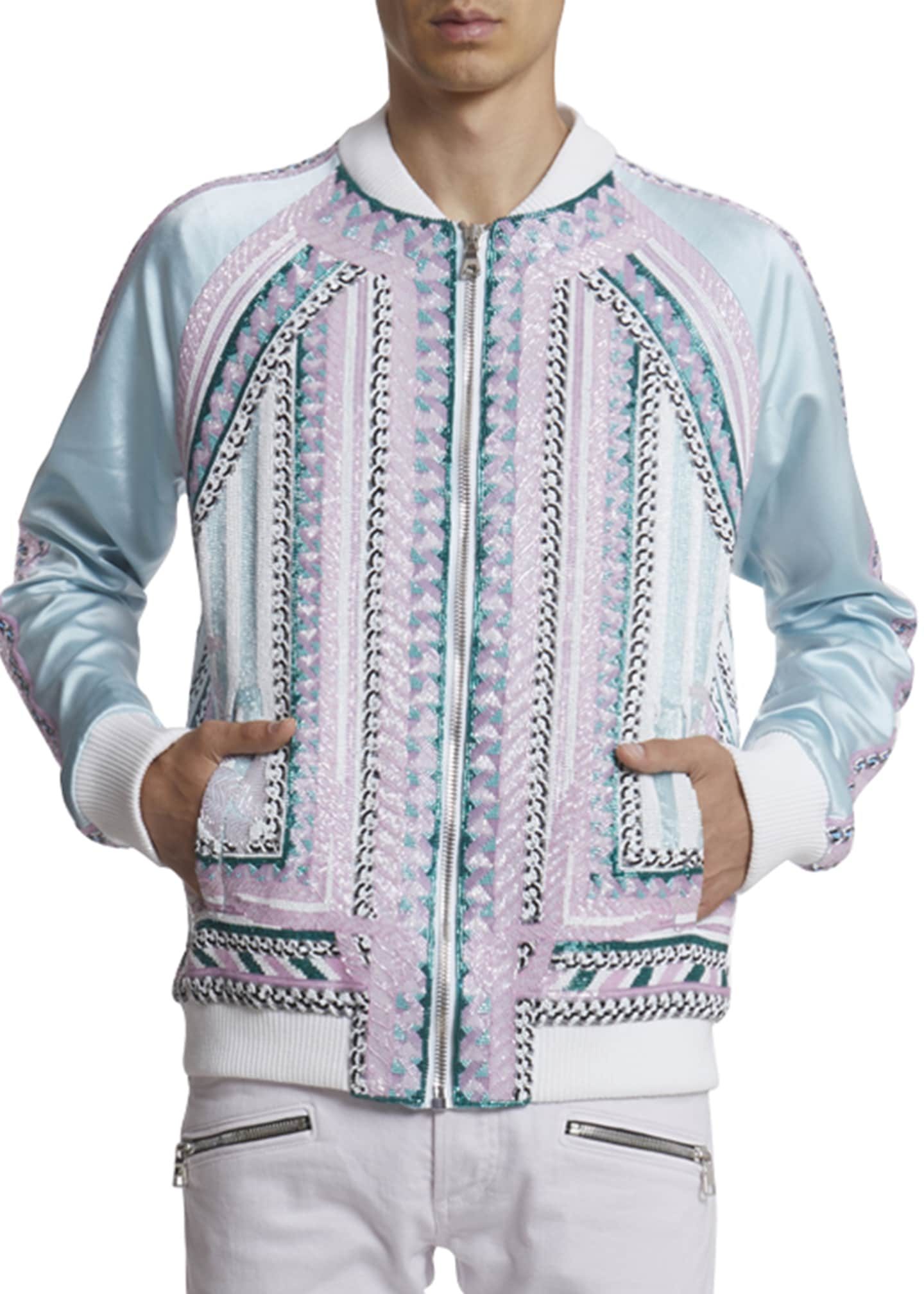 Image 3 of 3: Men's Embroidered Silk Bomber Jacket
