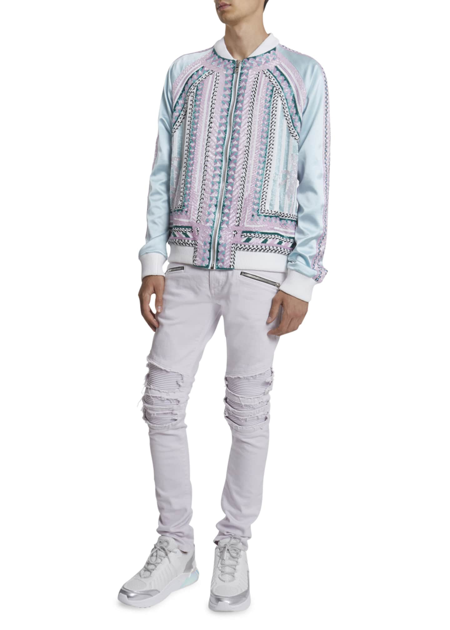 Image 1 of 3: Men's Embroidered Silk Bomber Jacket