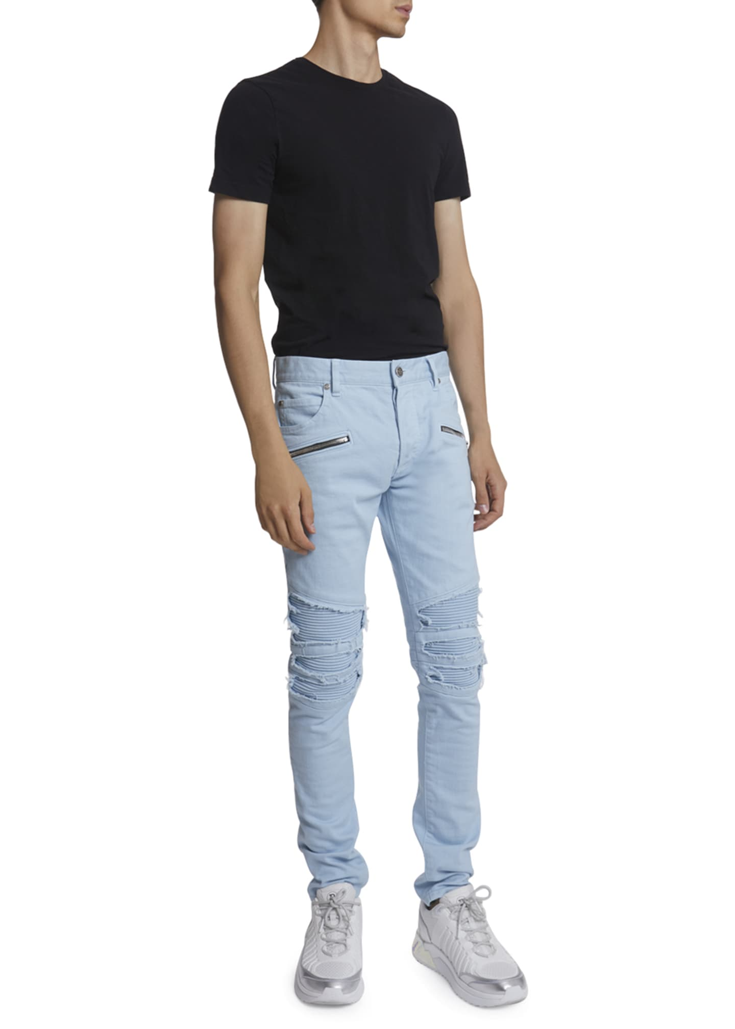 Image 2 of 3: Men's Pastel Ribbed-Inset Skinny Jeans