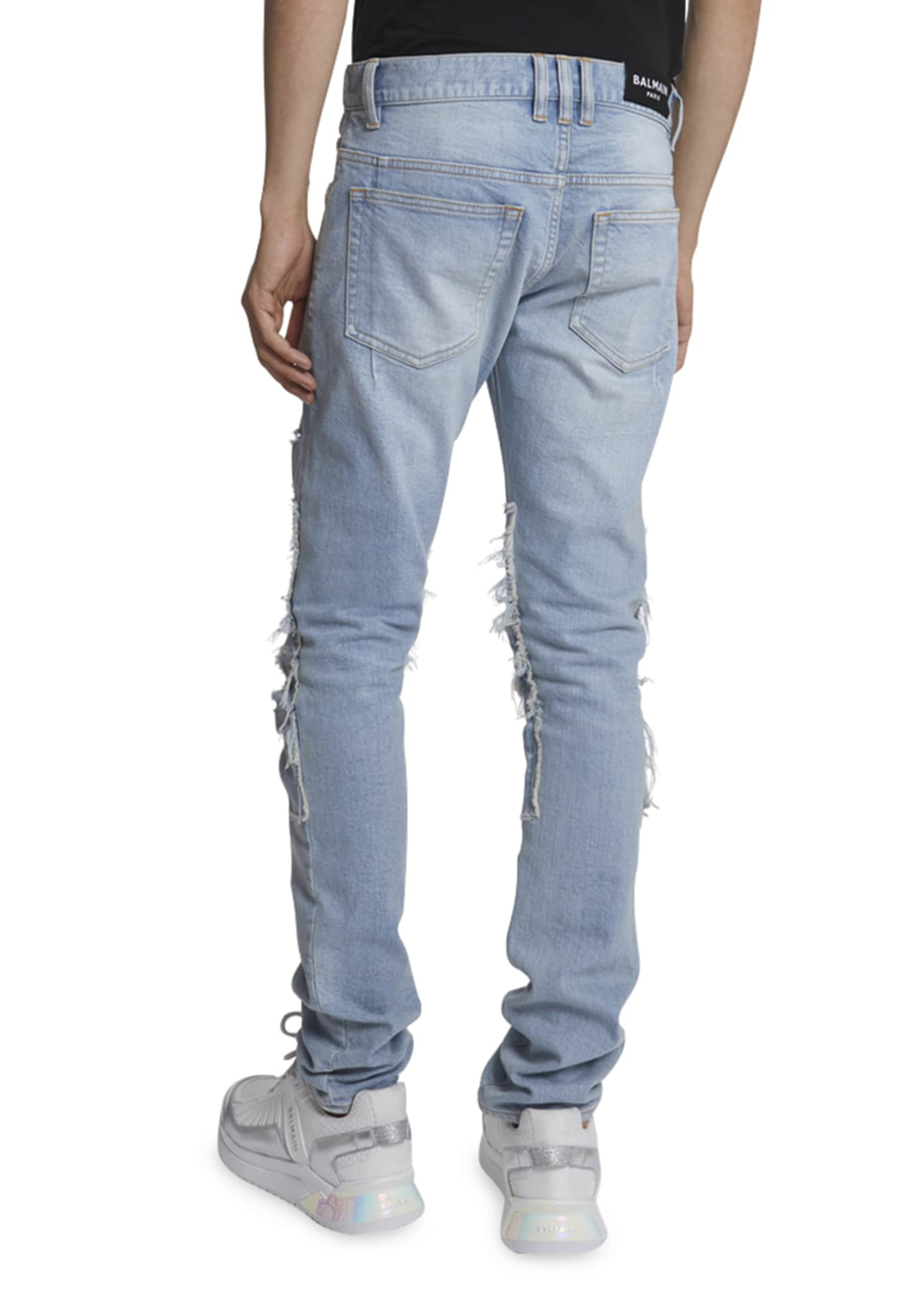 Image 3 of 3: Men's Pastel Ribbed-Inset Skinny Jeans
