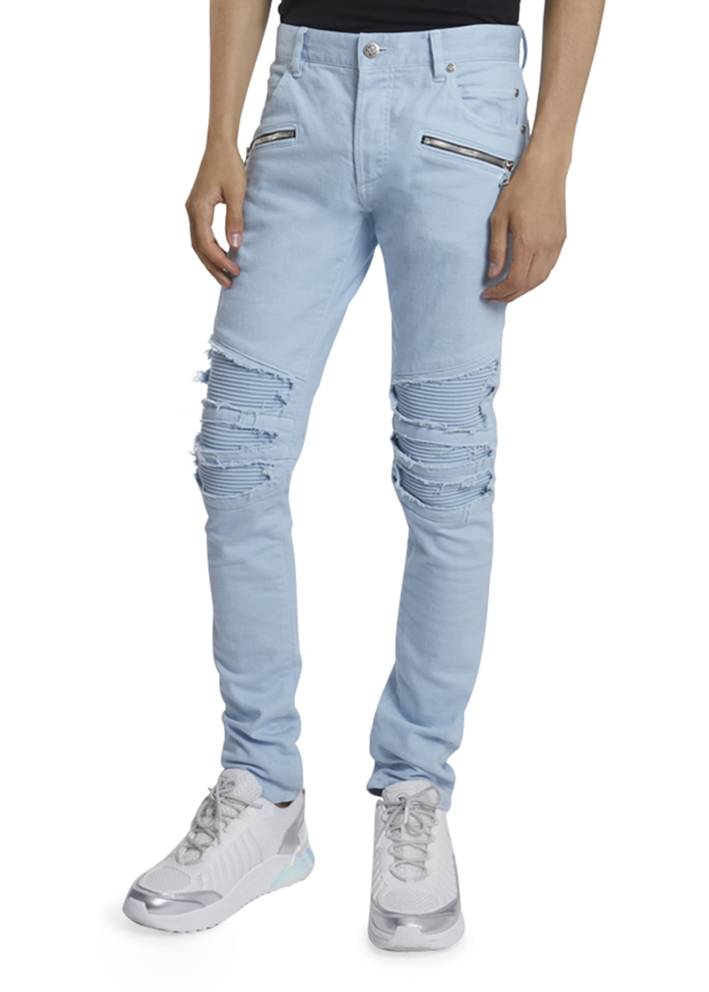 Image 1 of 3: Men's Pastel Ribbed-Inset Skinny Jeans