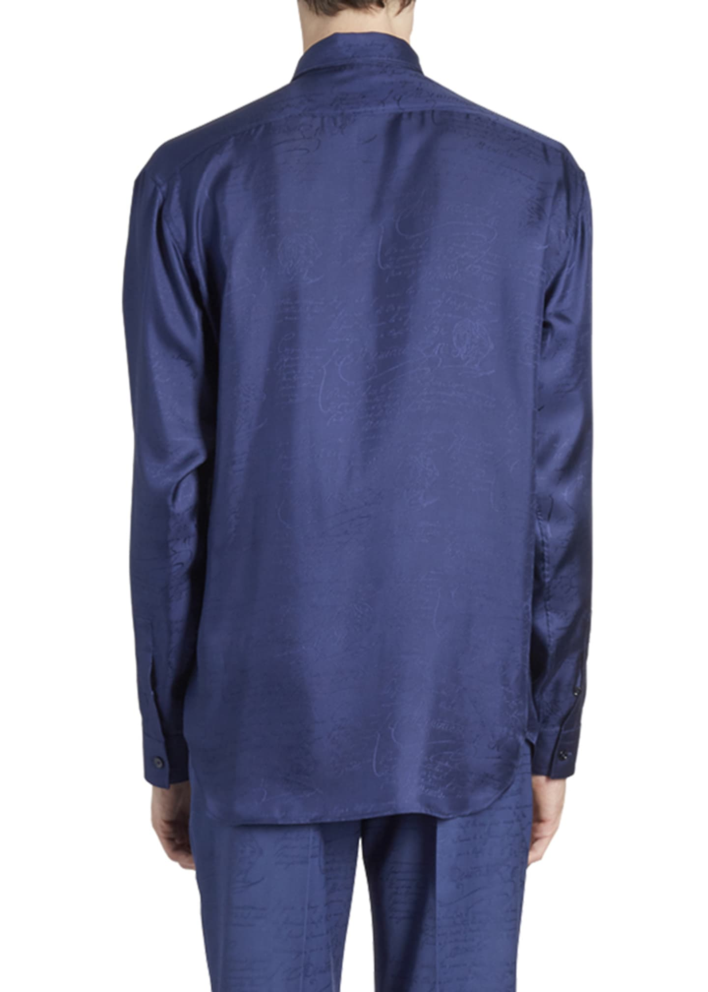 Image 2 of 2: Men's Tonal Script Silk Sport Shirt