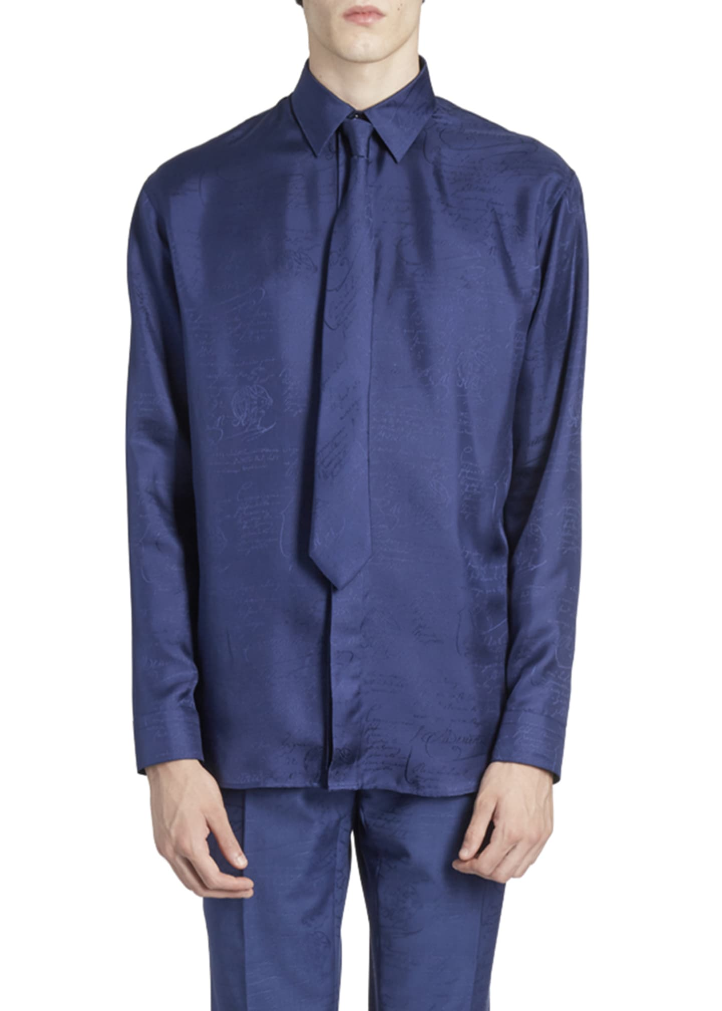 Image 1 of 2: Men's Tonal Script Silk Sport Shirt