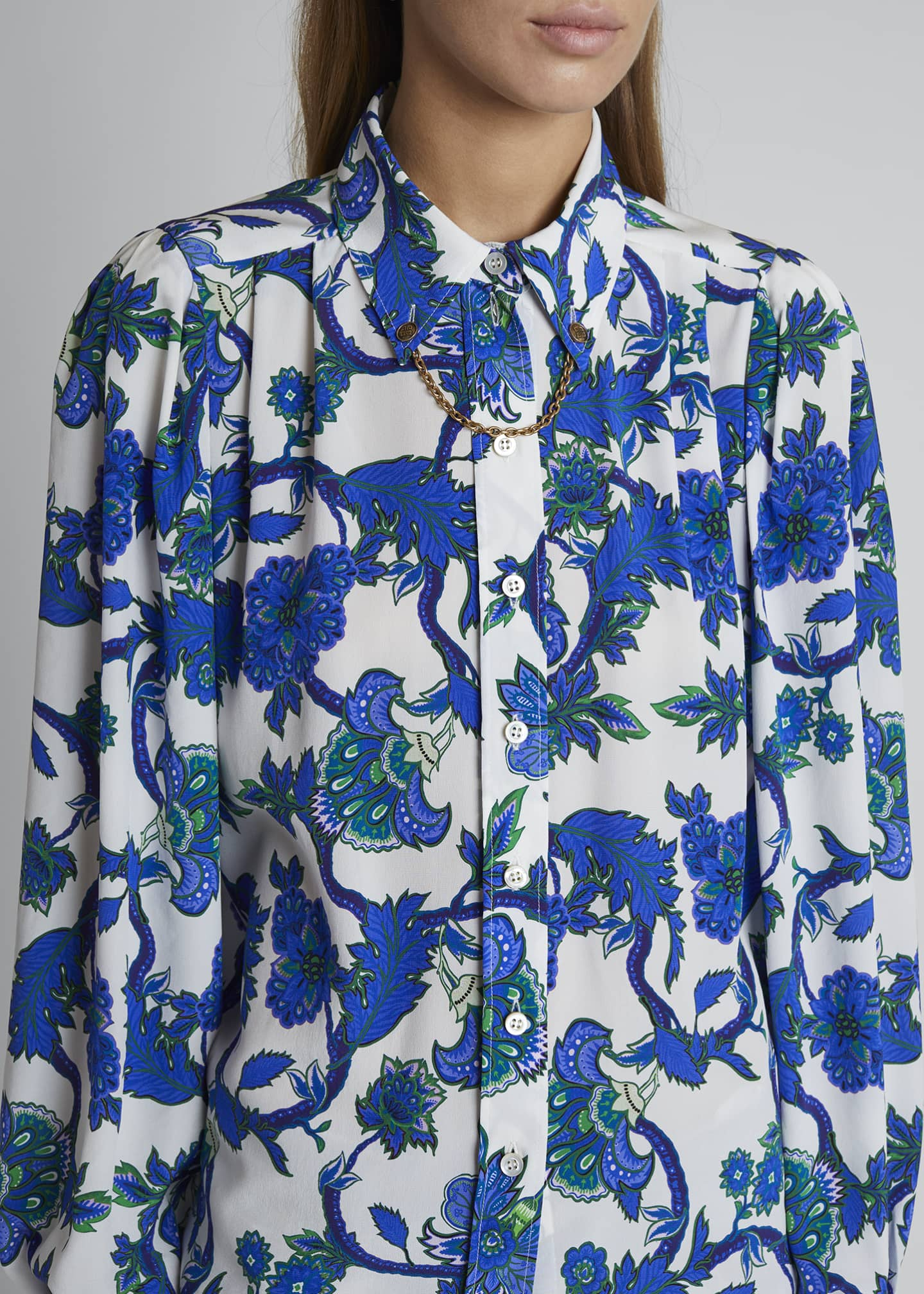 Image 4 of 4: Floral-Print Button-Front Chained Blouse