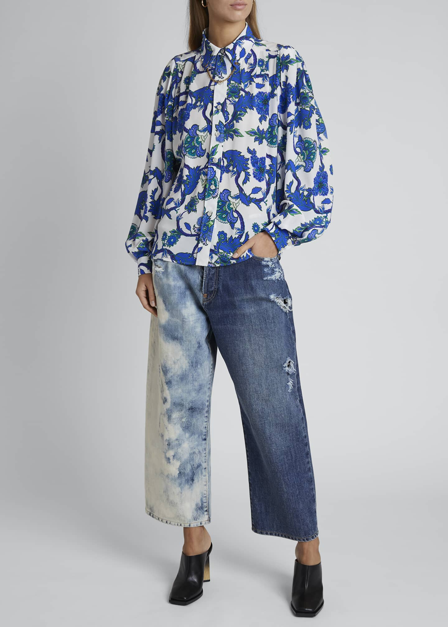 Image 1 of 4: Floral-Print Button-Front Chained Blouse